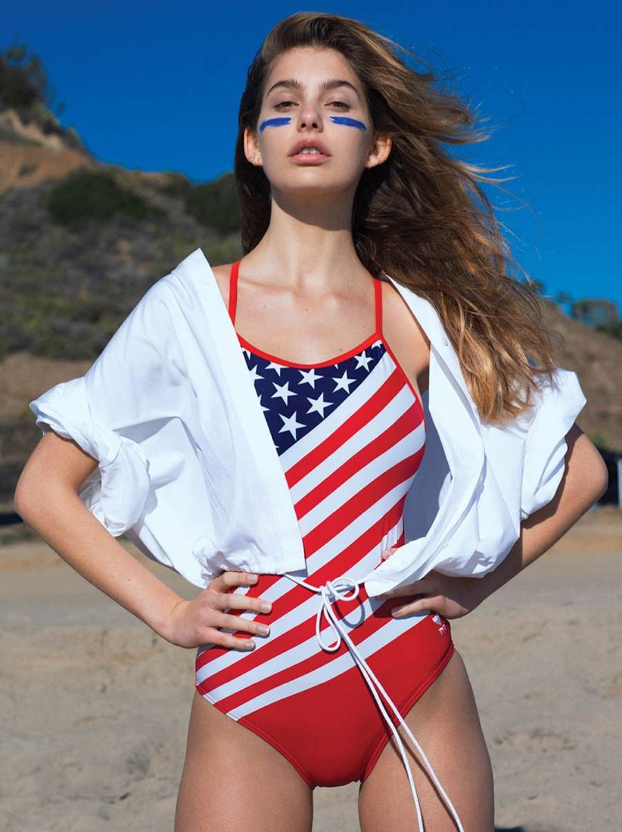 Camila Morrone Channels Baywatch Red Swimsuits CR Fashion Book