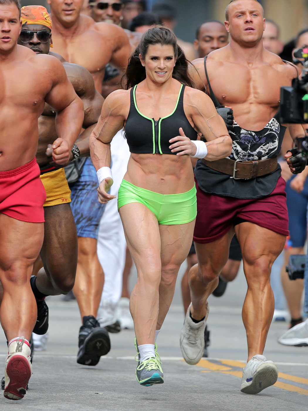 Danica Patrick Filming Crazy Buff for Go Daddy Super Bowl Commercial in Los Angeles