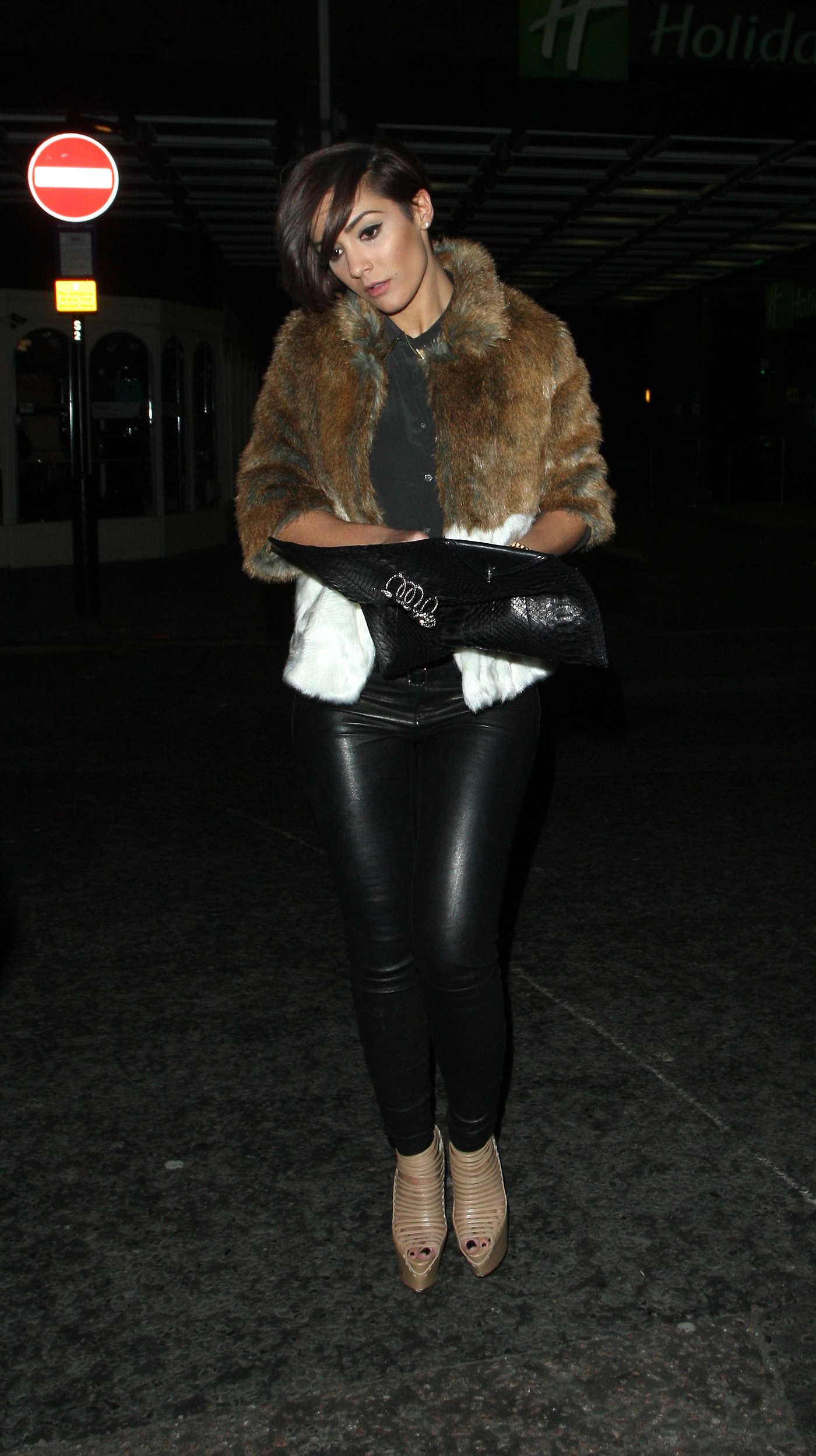 Frankie Sandford Out in Leather Pants in London
