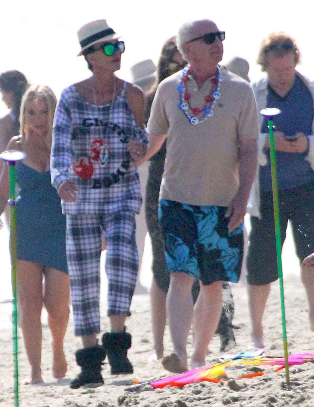 Janice Dickinsonin Jeans Shorts out in Malibu