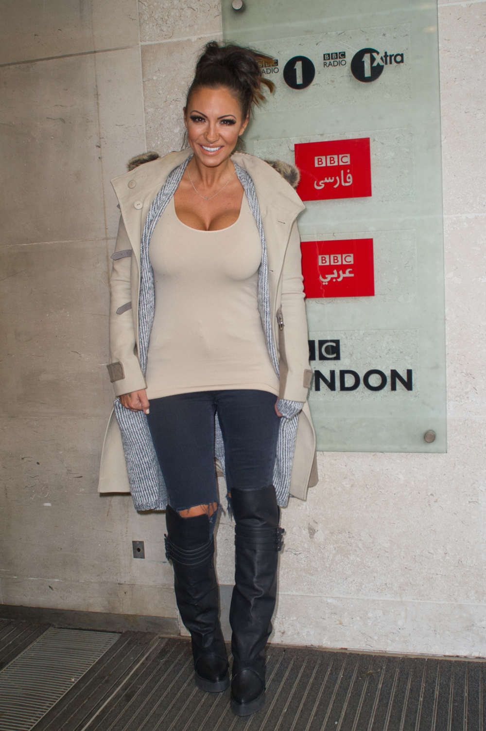 Jodie Marsh Leaving the BBC Studios in London