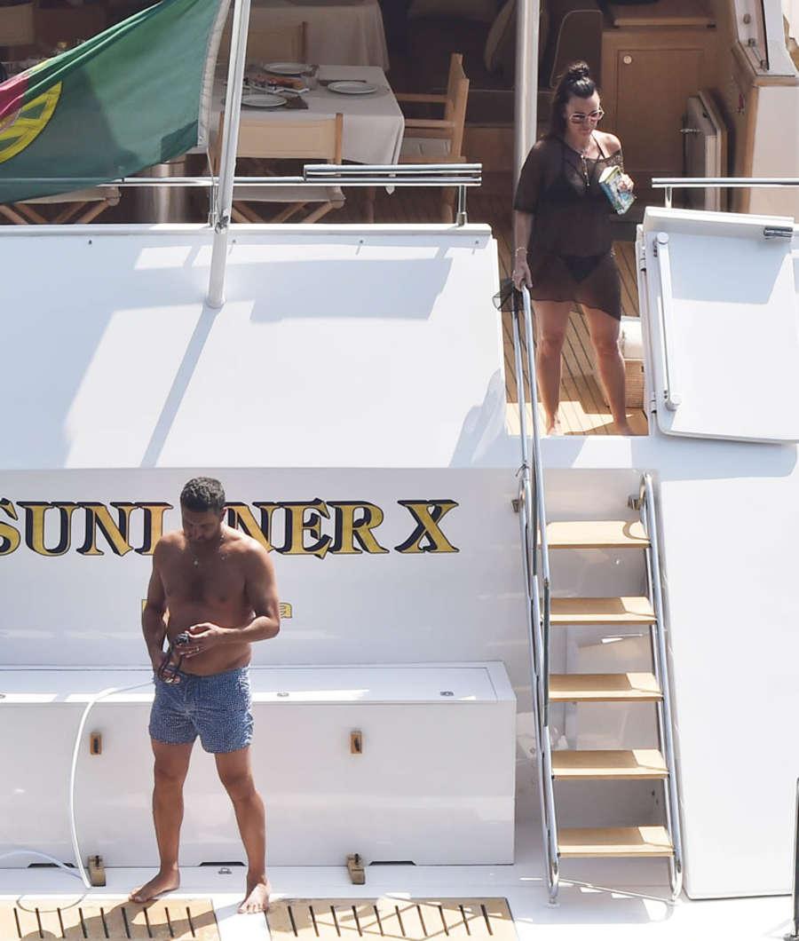 Kyle Richards Bikini Candids on a yacht in Portofino