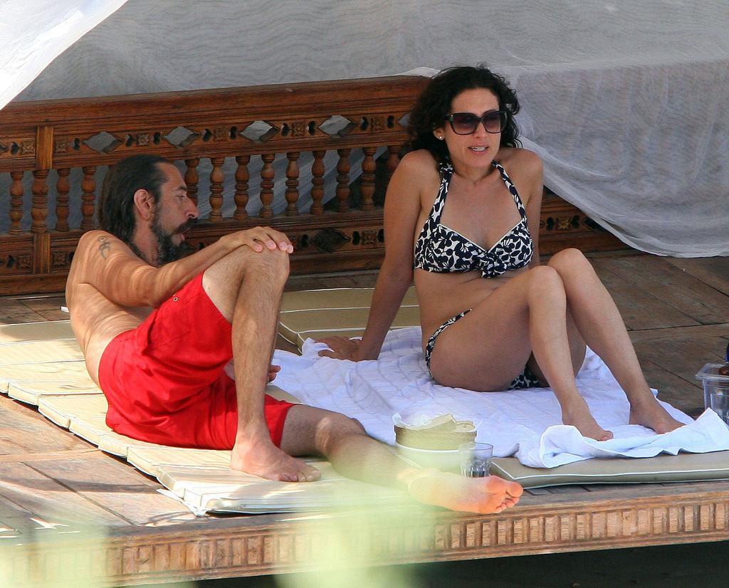 Lisa Edelstein Bikini candids by a pool in Italy