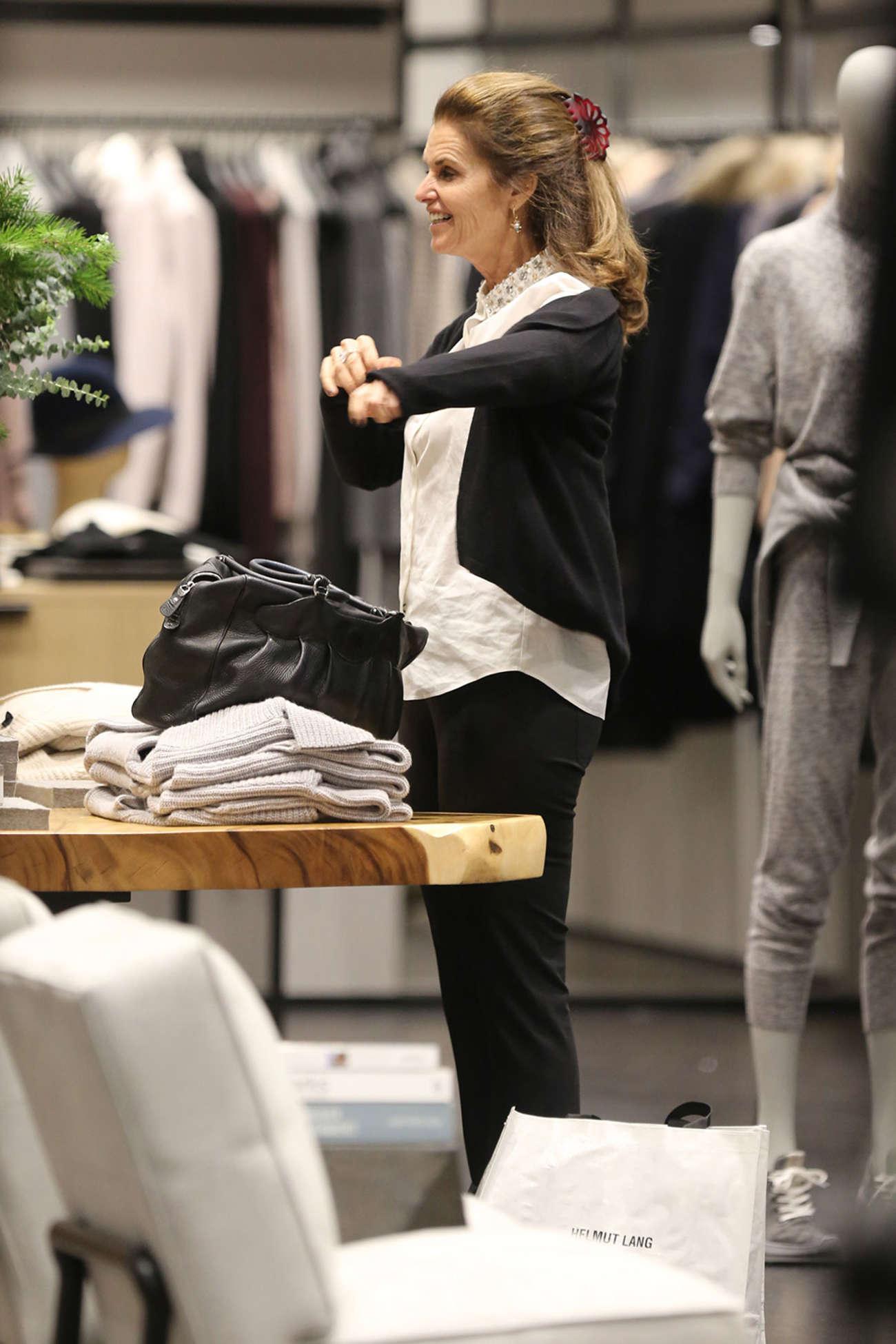 Maria Shriver Shopping at Helmut Lang Store