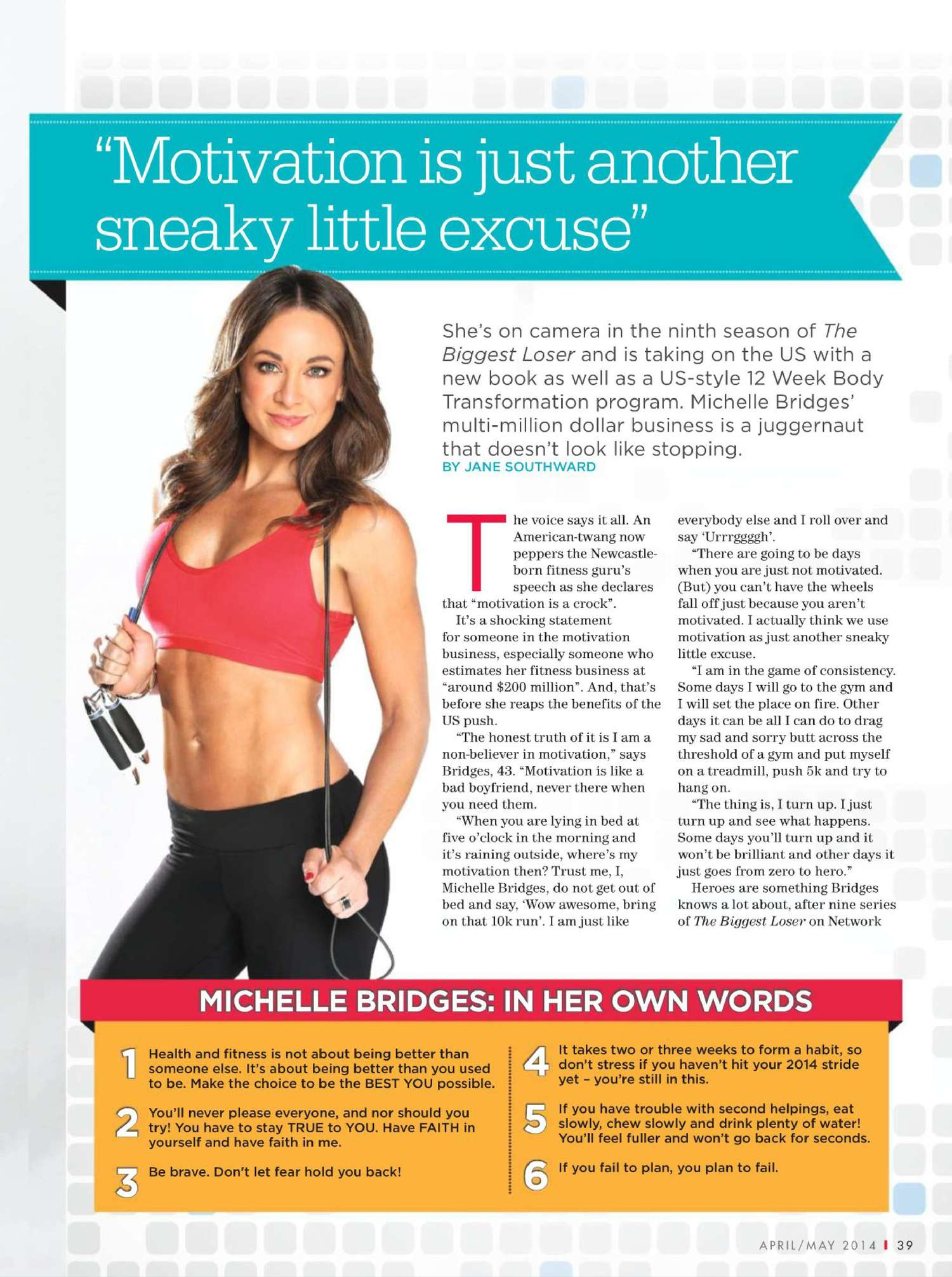 Michelle Bridges Shape Australia Magazine