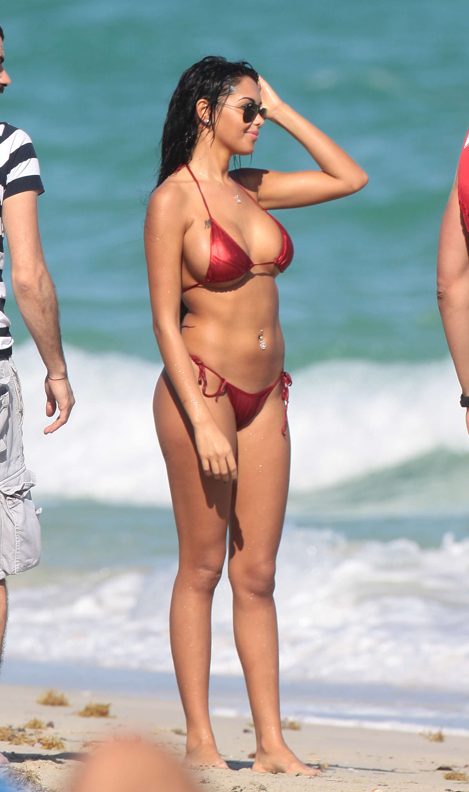 Nabilla Benattia Wearing Bikini on the set off a dating reality show in Miami