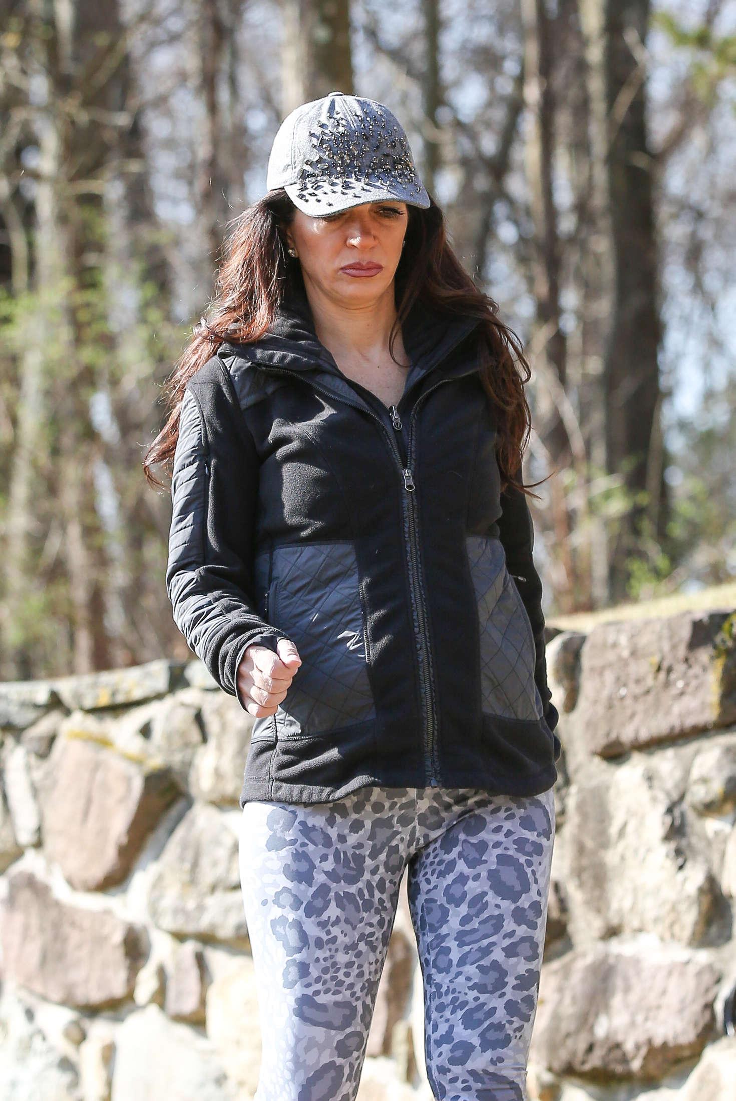 Teresa Giudice goes for a walk in the park in New York