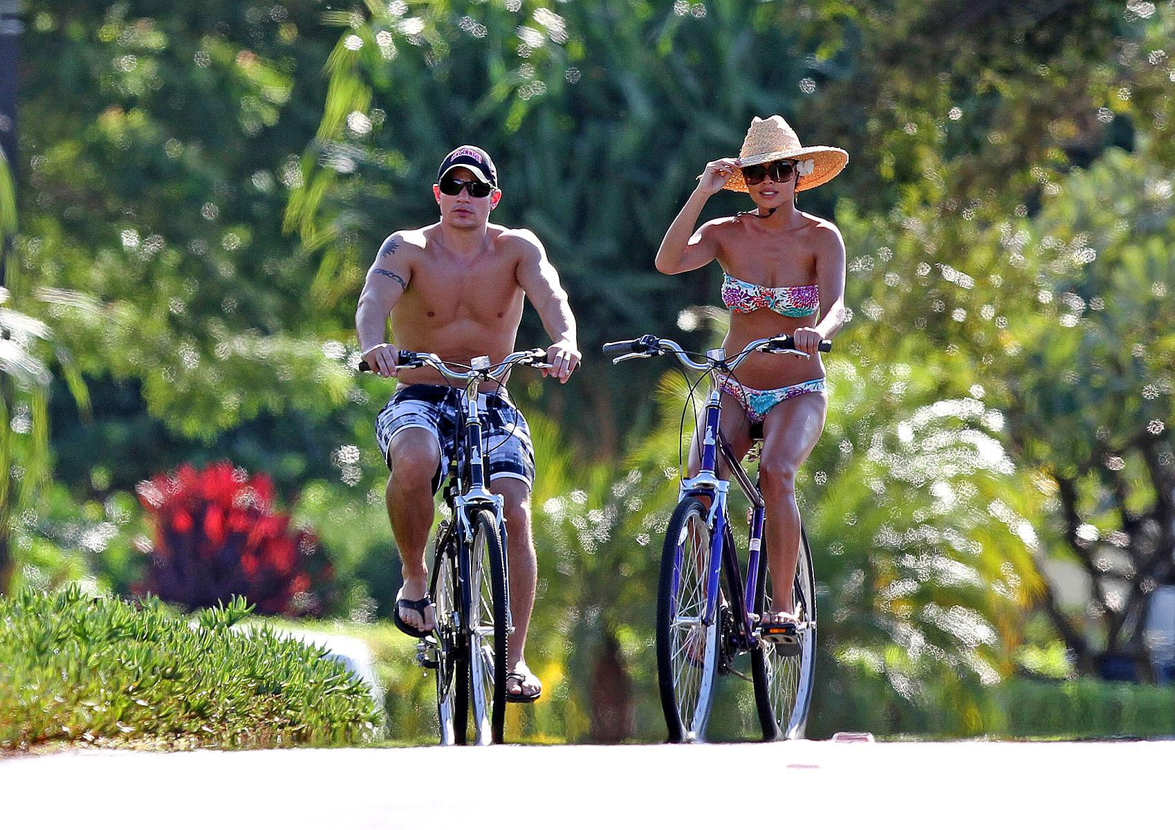Vanessa Minnillo Bikini Candids on a Bike in Hawaii