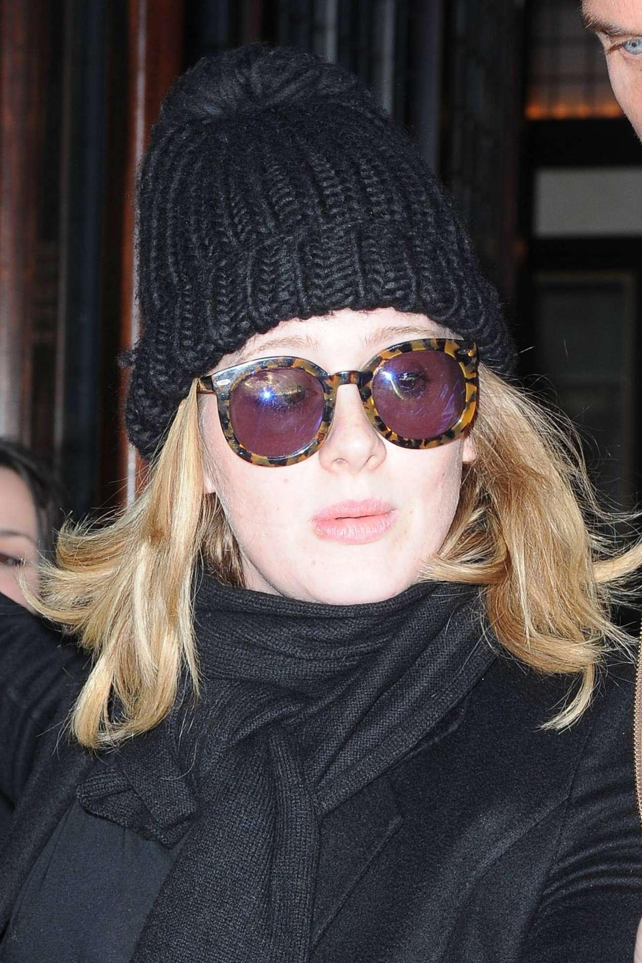 Adele Leaves her Tribeca Hotel in New York