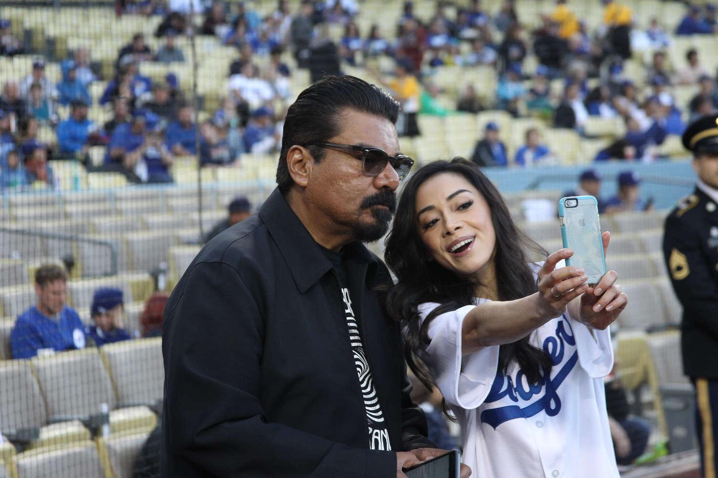 Aimee Garcia at Dodger Stadium in Los Angeles
