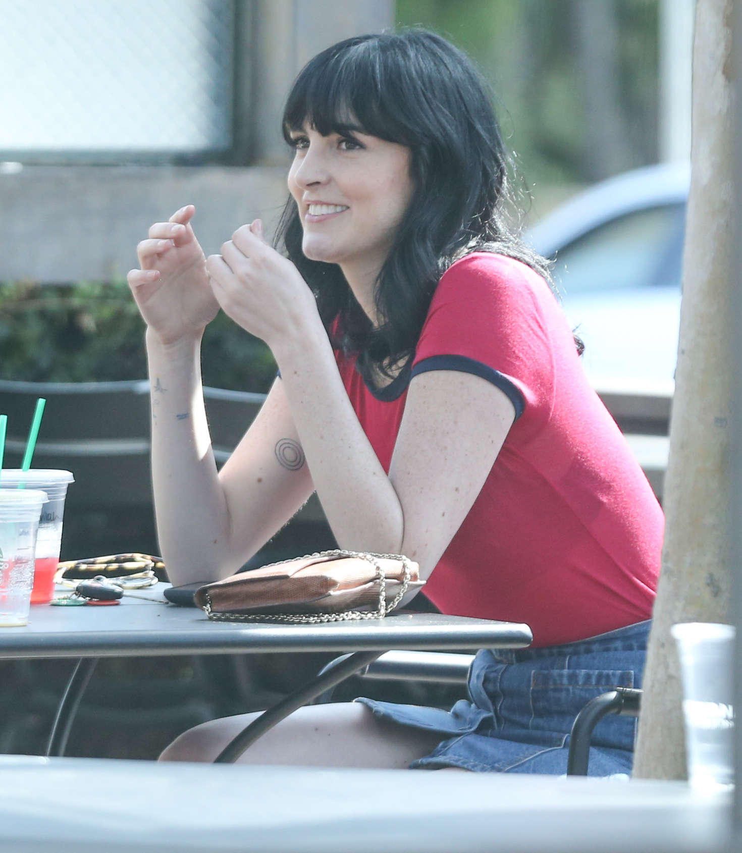 Ali Lohan in Red Shirt out in Hollywood