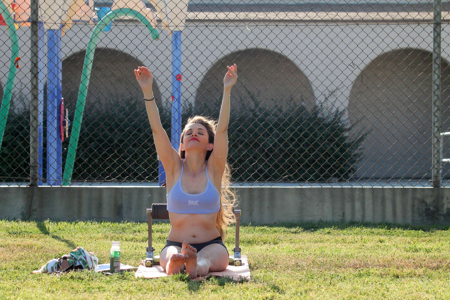 Alicia Arden working out in the park in North Hollywood