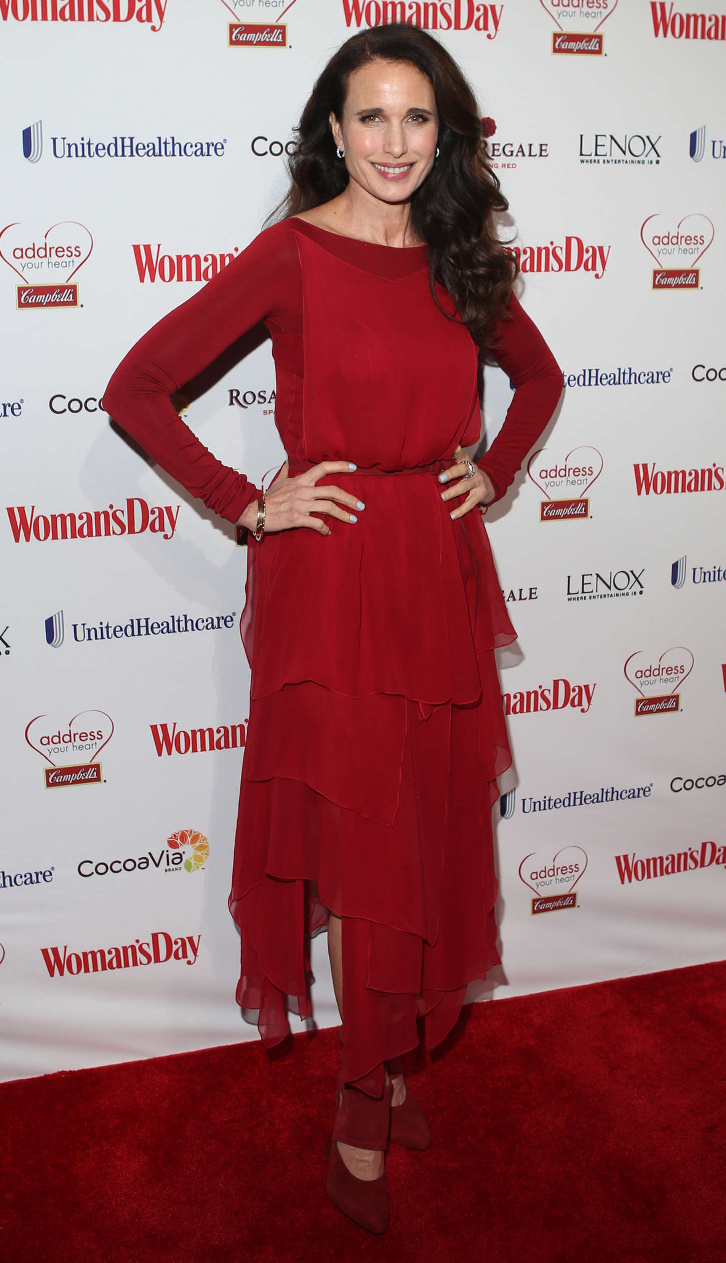 Andie MacDowell Womans Day Red Dress Awards in New York City