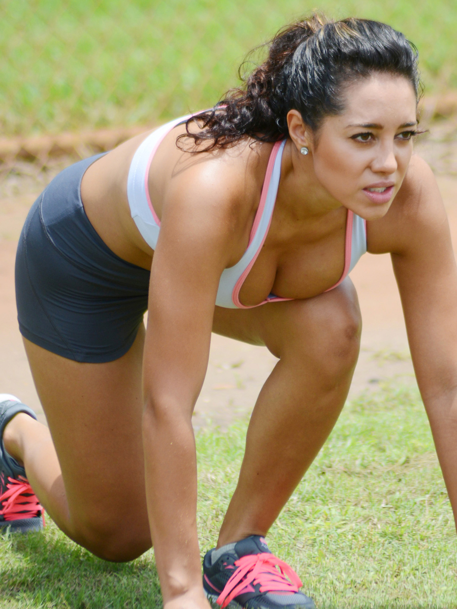 Andrea Calle Work Out at a Park in Miami