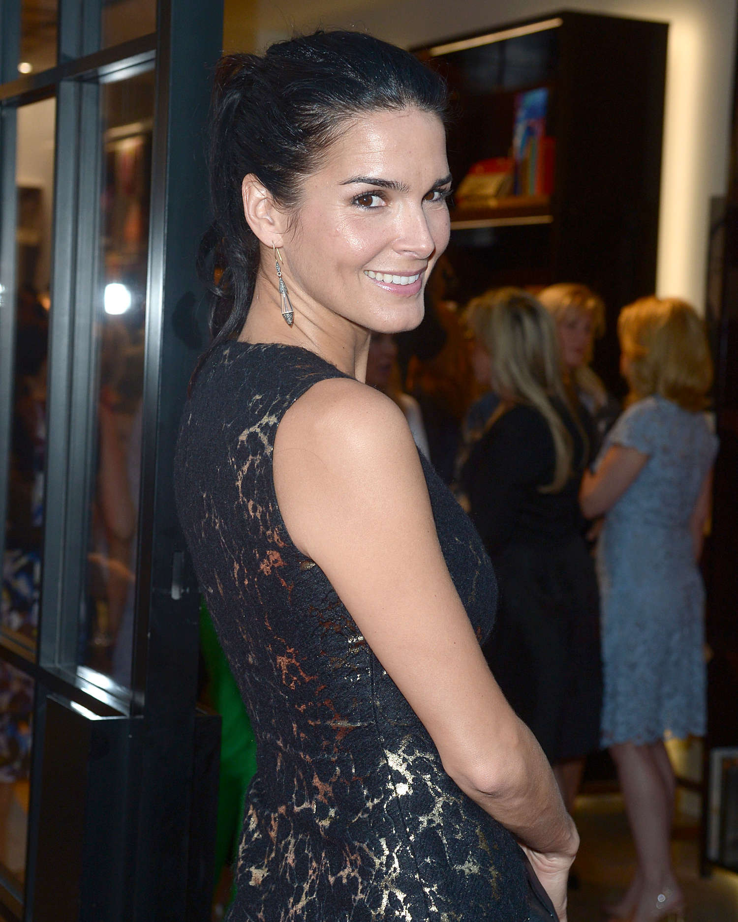 Angie Harmon Carolina Herrera Rodeo Drive Boutique opening in Los Angeles