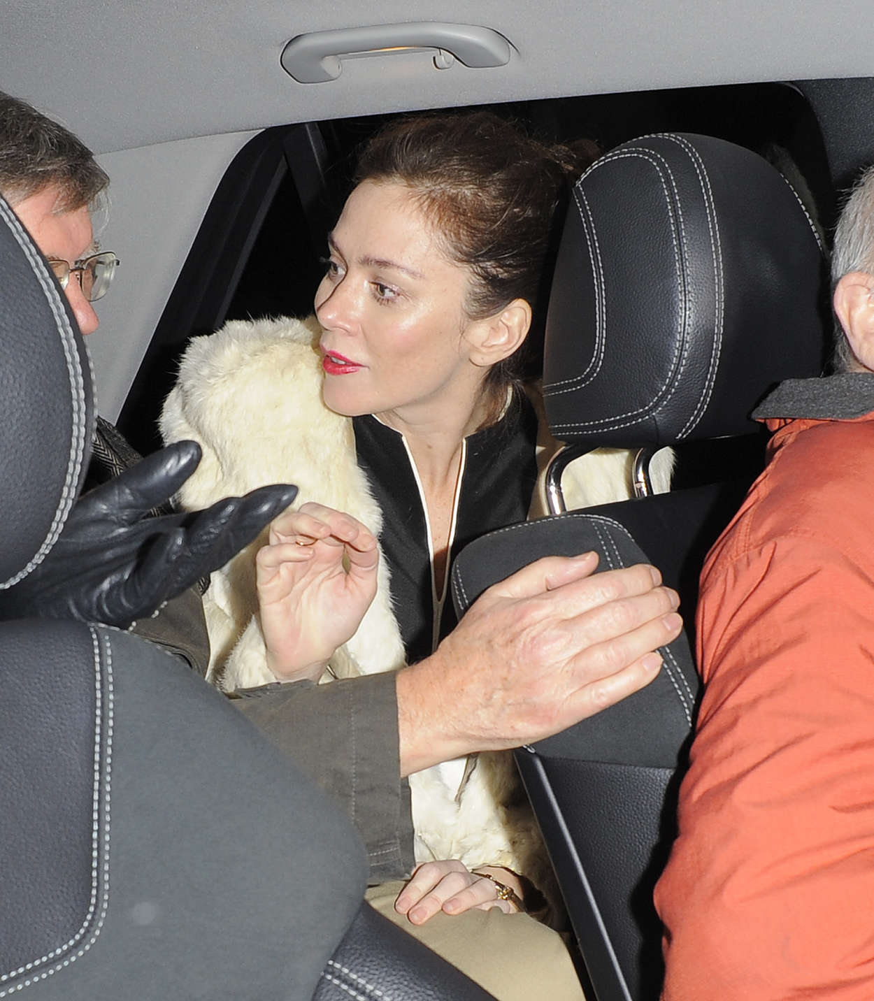 Anna Friel leaves the theater in London