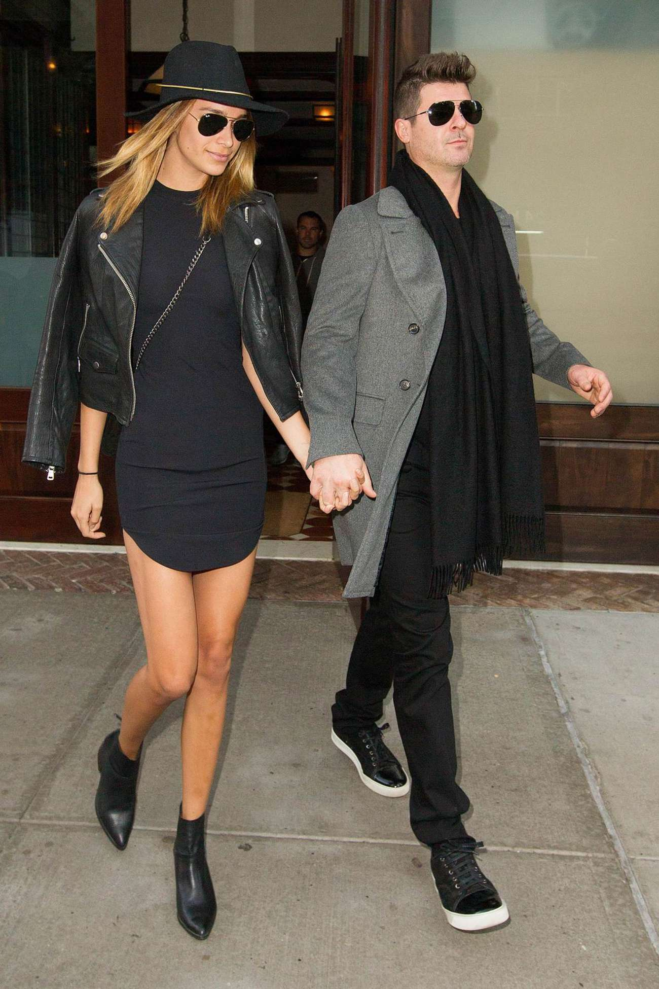 April Love Geary and Robin Thicke Leaving Tribeca Hotel in New York