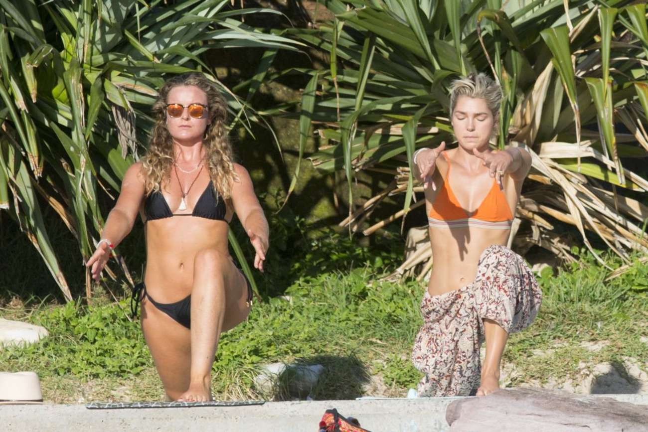 Ashley and Jessica Hart in Bikini Top on Yoga Class in Sydney