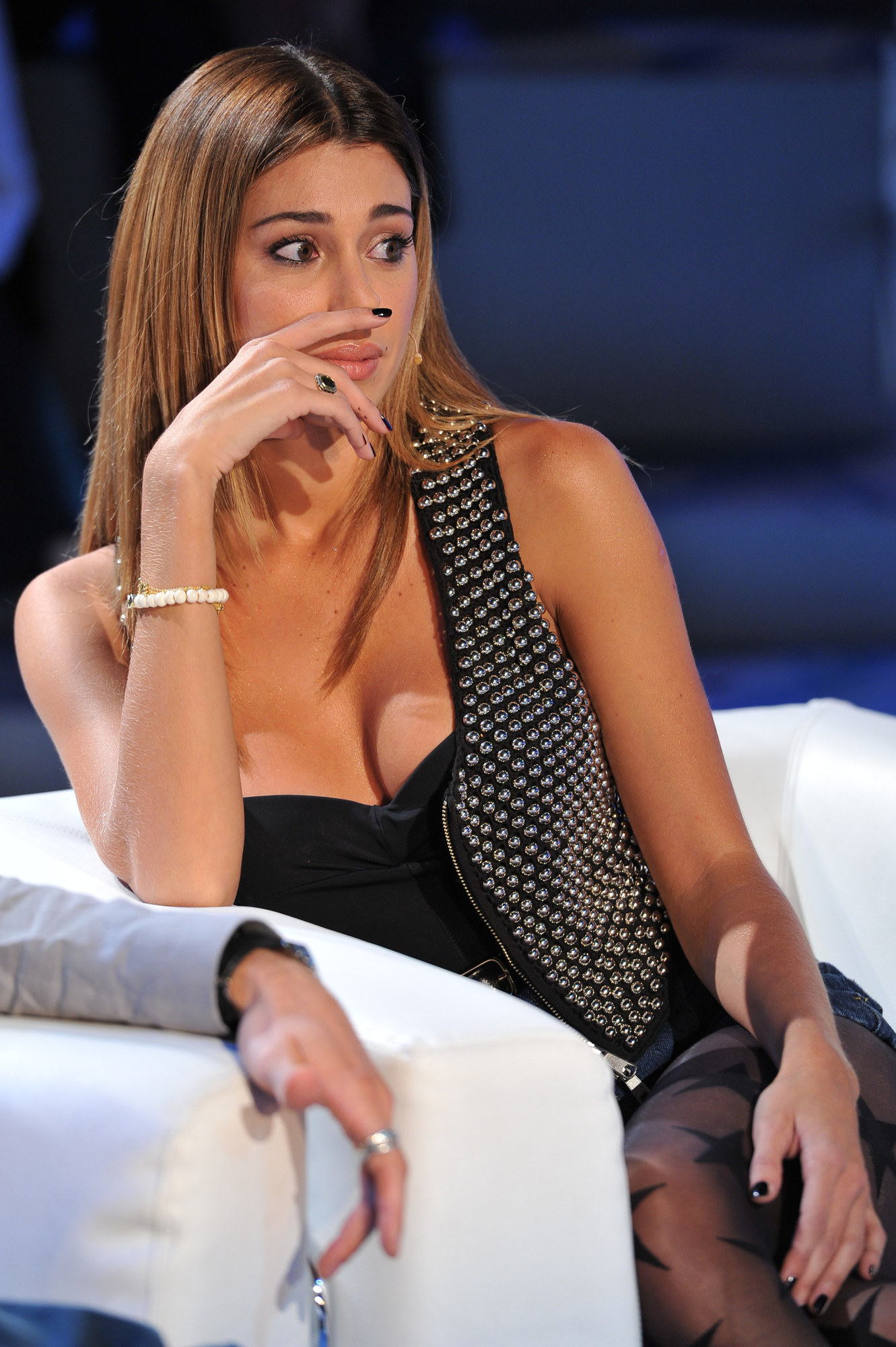 Belen Rodriguez Cleavage Candids on Italian TV show Domenica Cinque