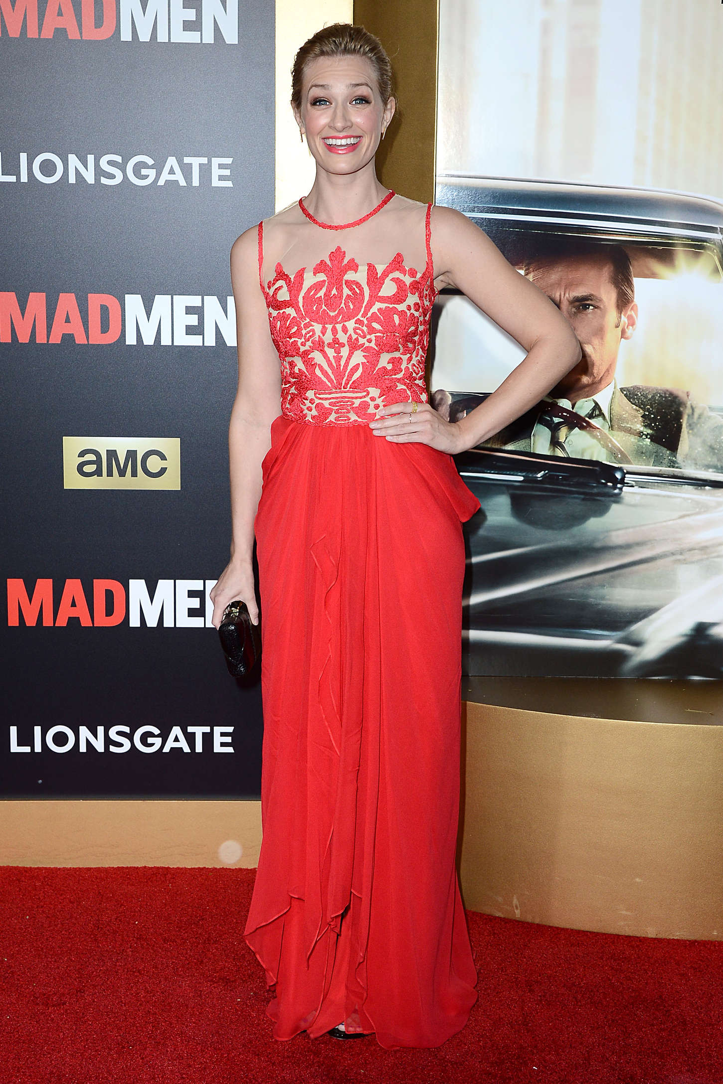 Beth Behrs AMC Mad Men Black Red Ball in Los Angeles