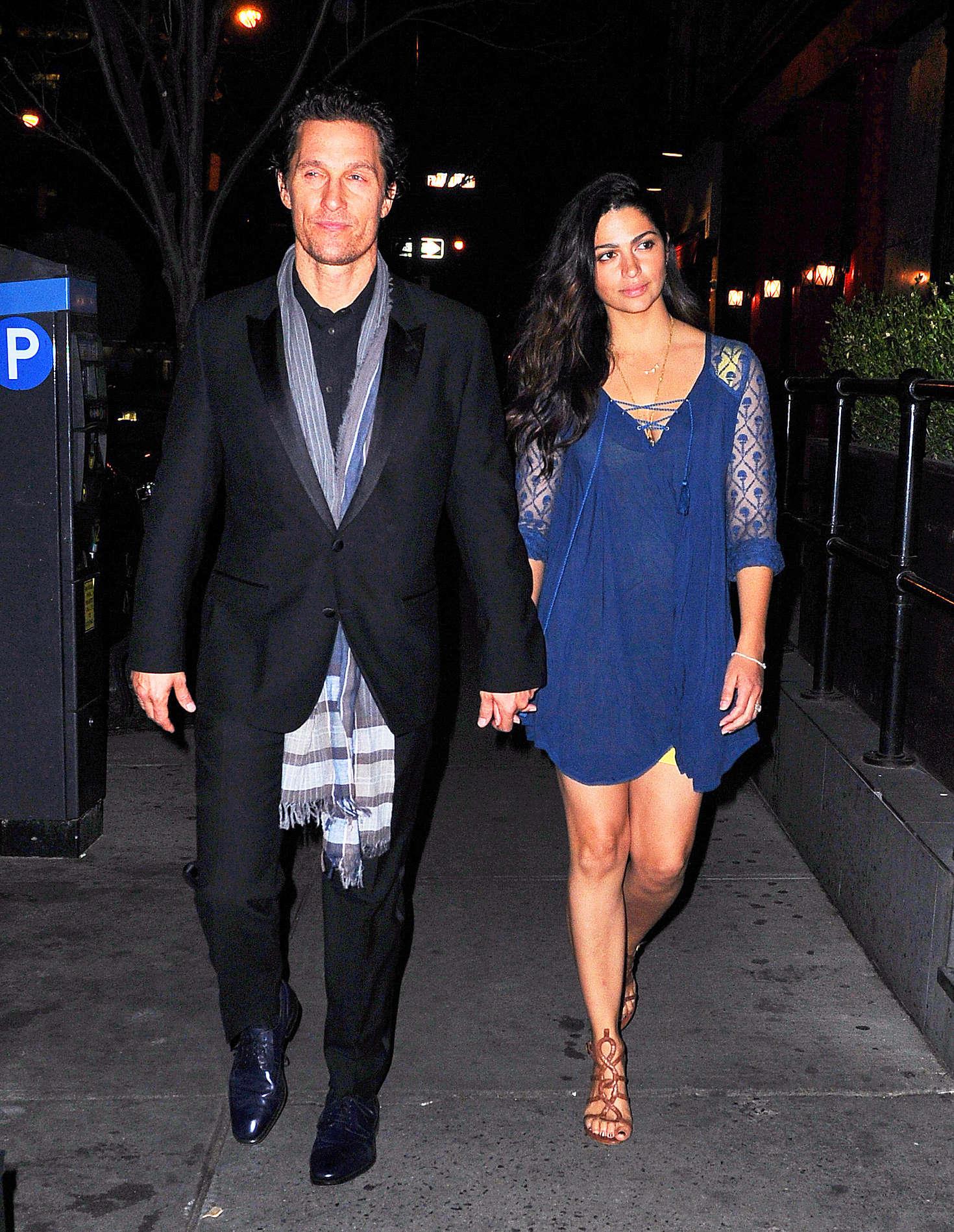 Camila Alves in blue dress out for dinner in New York