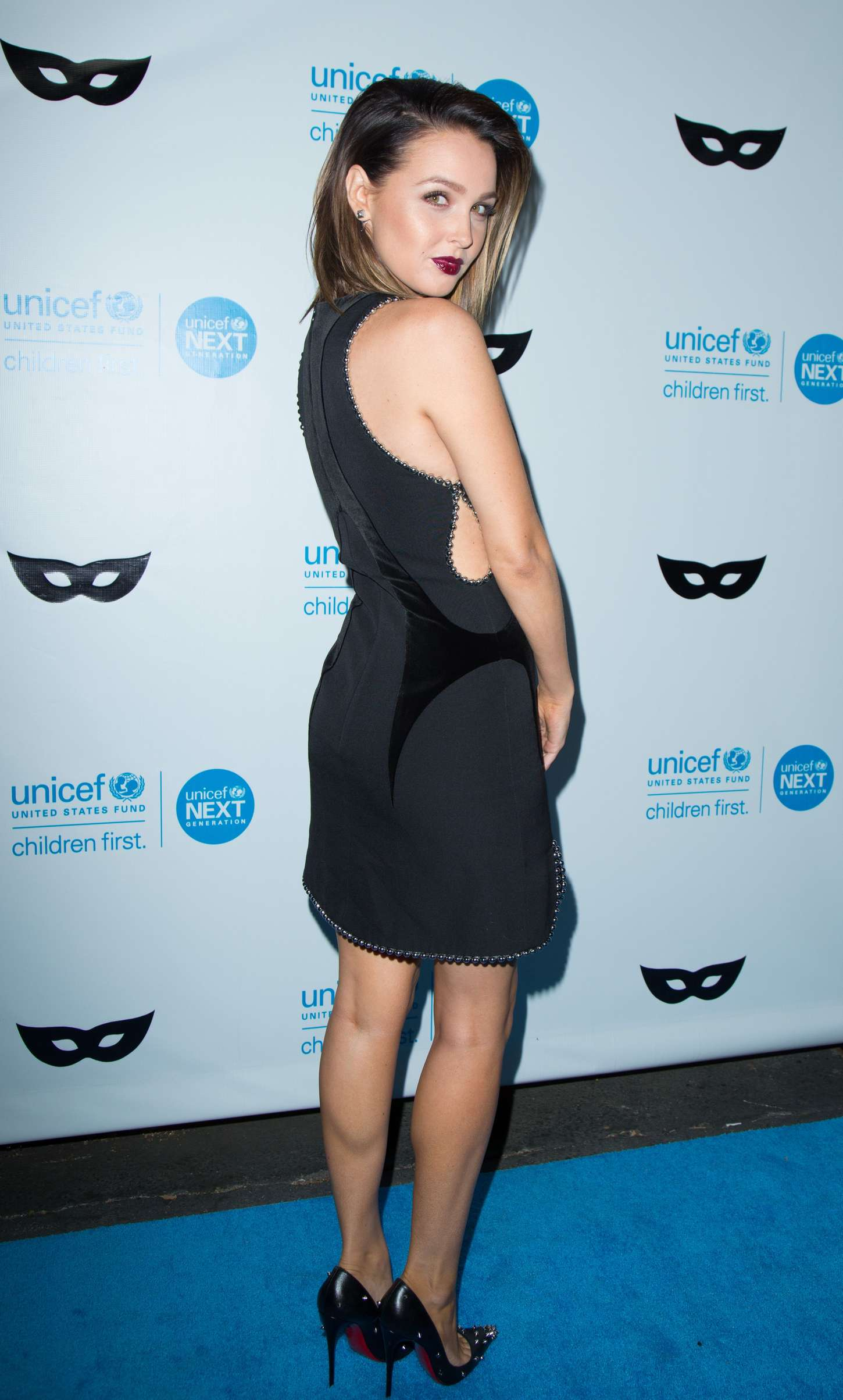 Camilla Luddington UNICEF Black White Masquerade Ball in Los Angeles