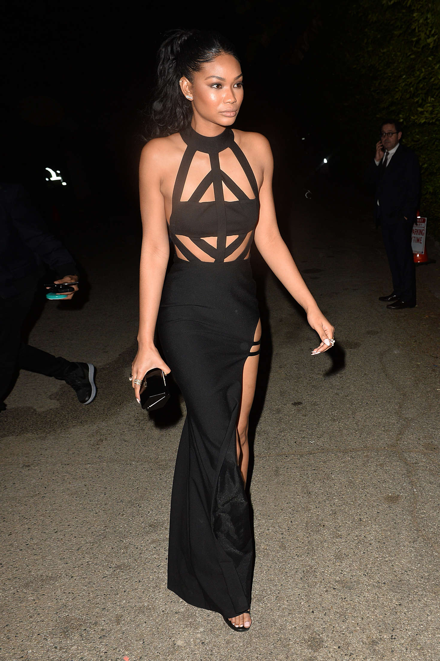 Chanel Iman Leaves a Pre Oscar Talent Agency Party in Los Angeles