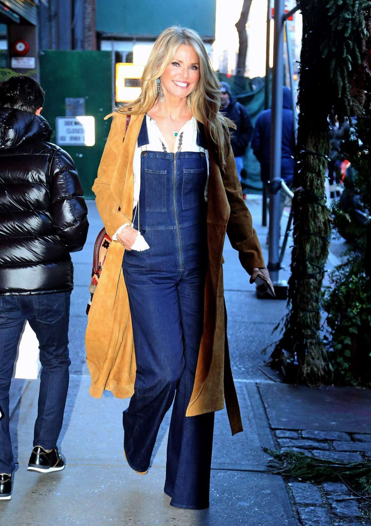 Christie Brinkley in Jeans Jumpsuit Out in New York
