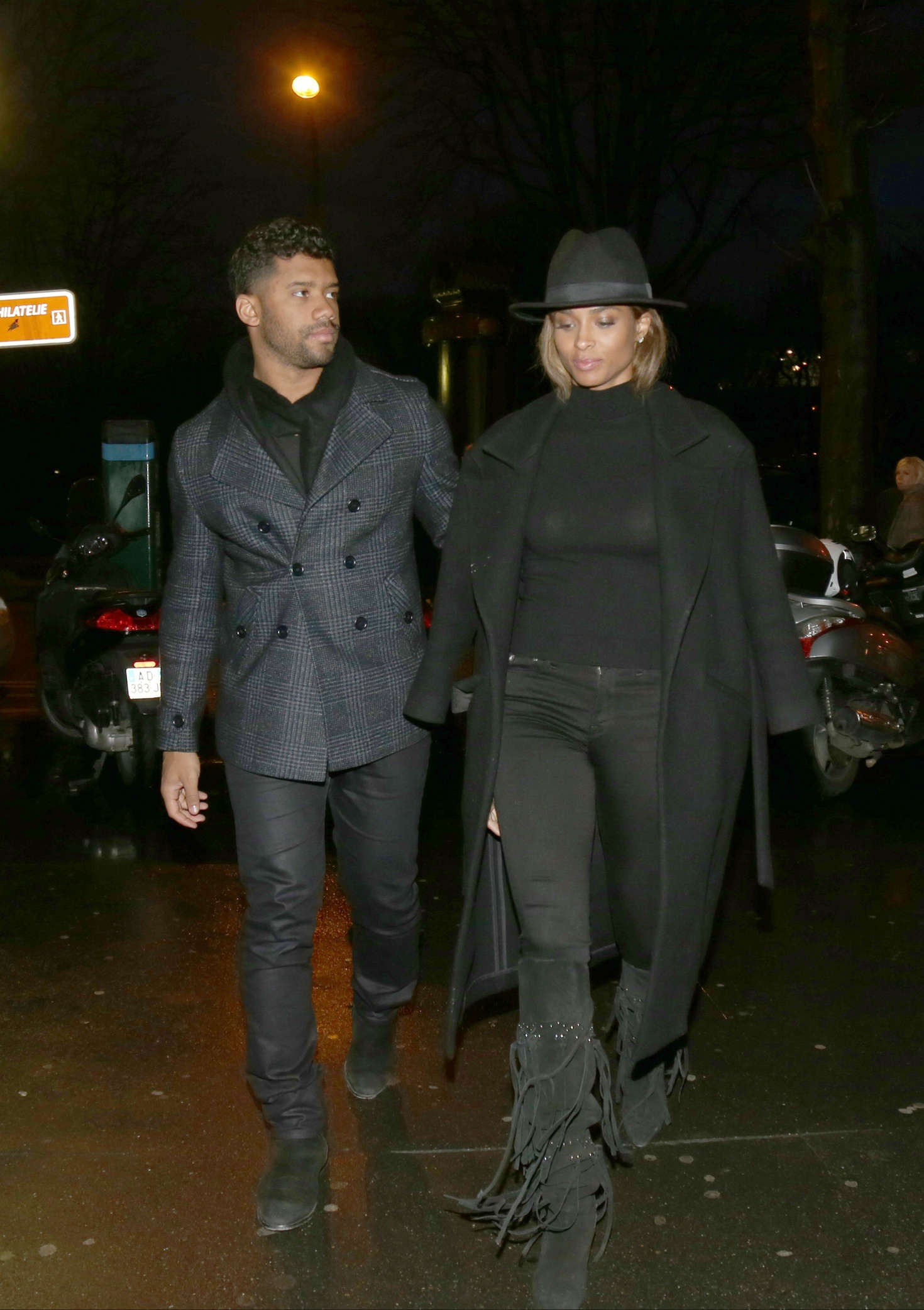 Ciara and her boyfriend Leaving Lolita Restaurant in Paris