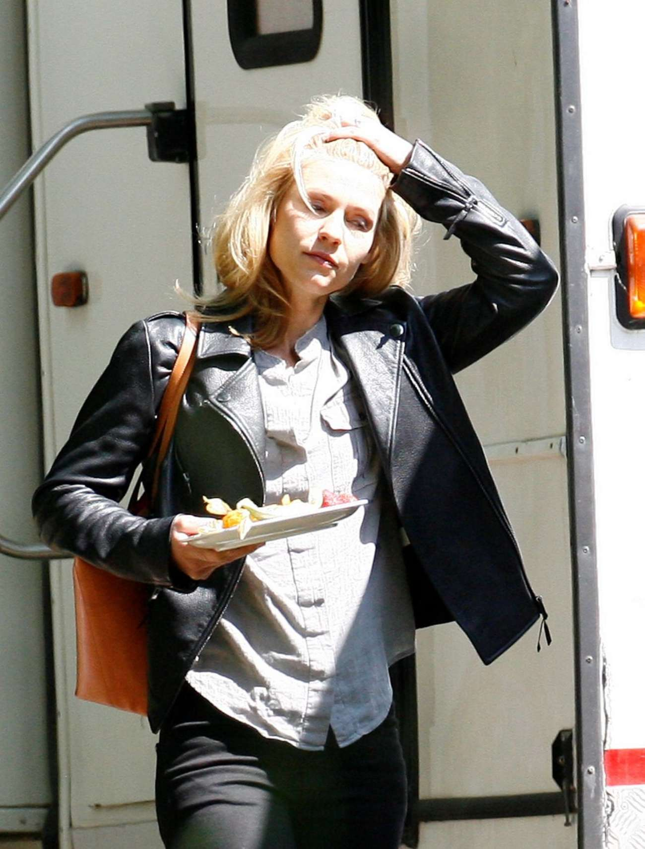 Claire Danes on the set of Homelandi in Berlin