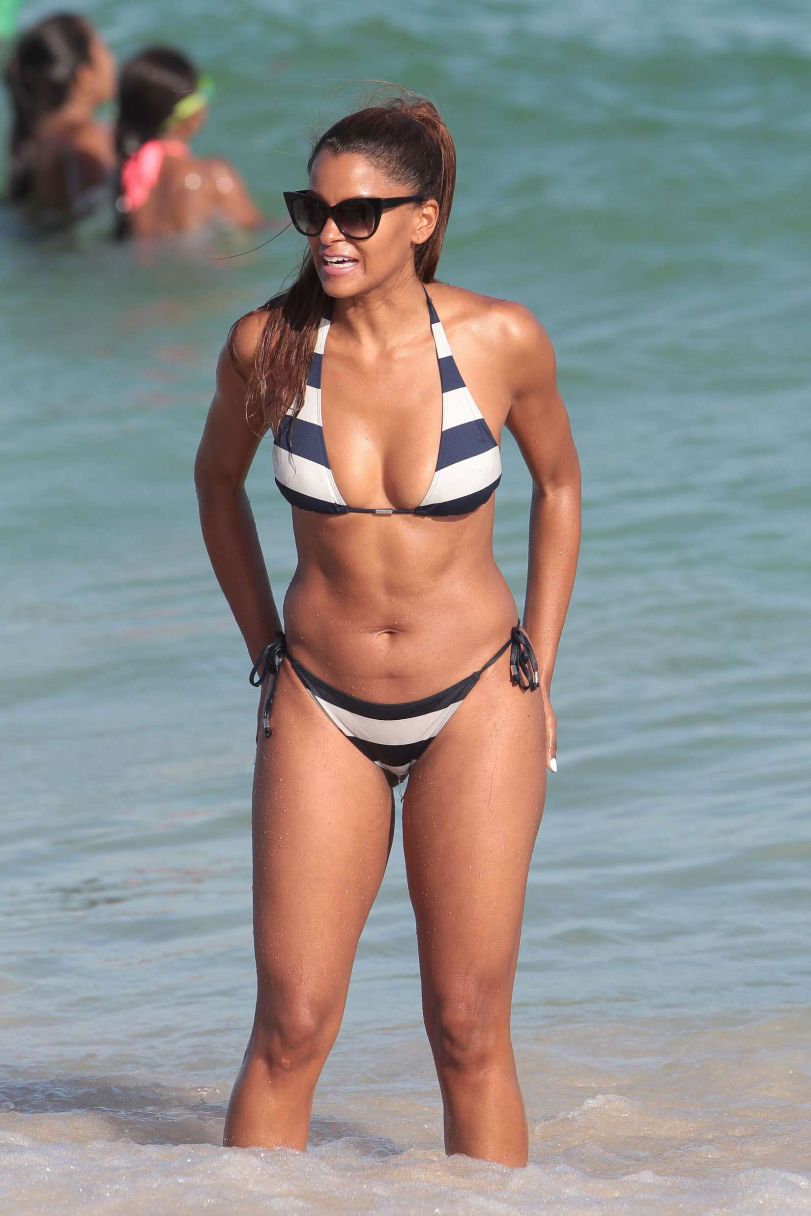 Claudia Jordan Bikini Candids on the beach in Miami