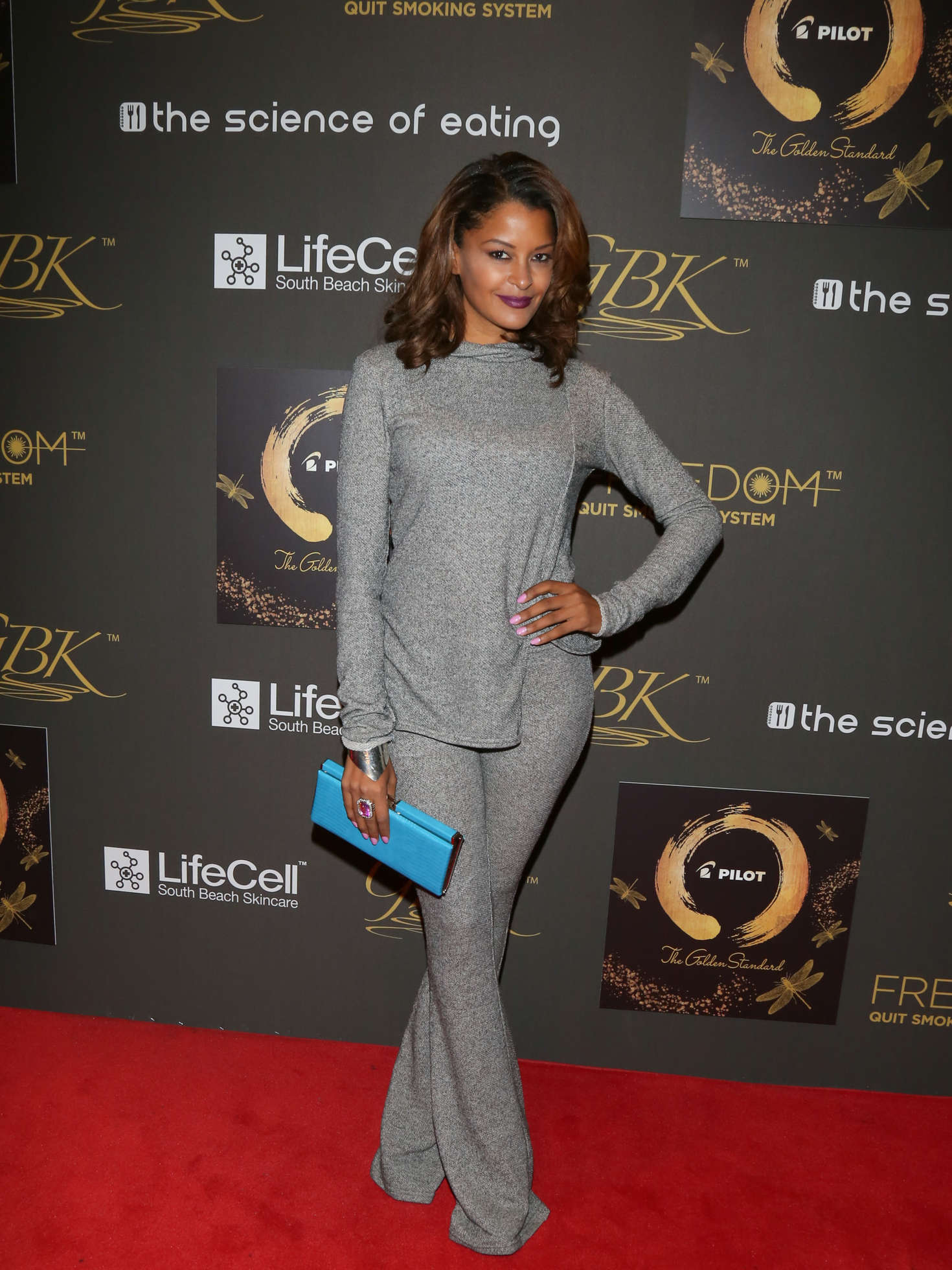 Claudia Jordan GBK Pilot Pen Golden Globes Luxury Lounge in Los Angeles