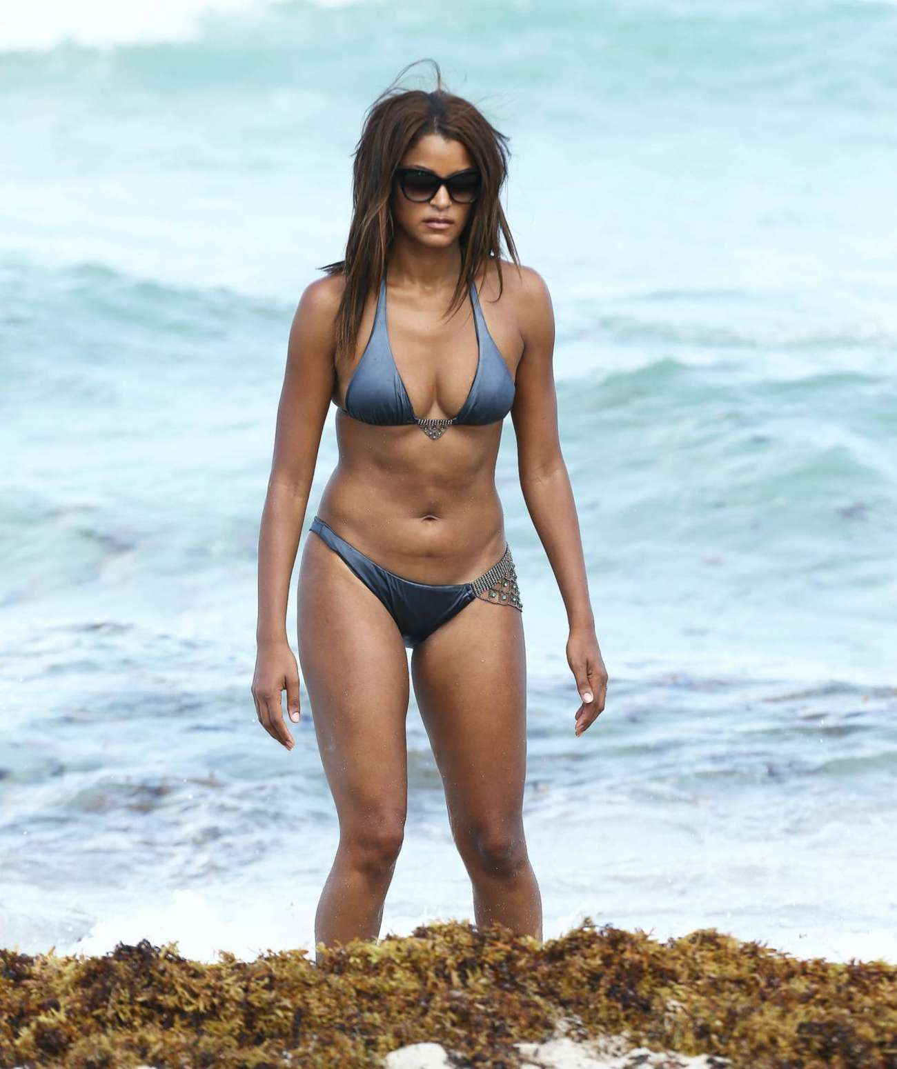 Claudia Jordan Wearing Bikini in Miami