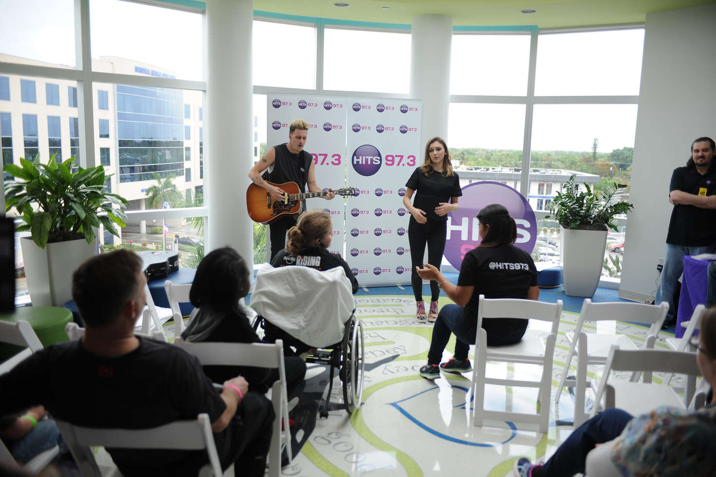 Daya Visits Joe DiMaggio Childrens Hospital with radio station HITS . in Hollywood