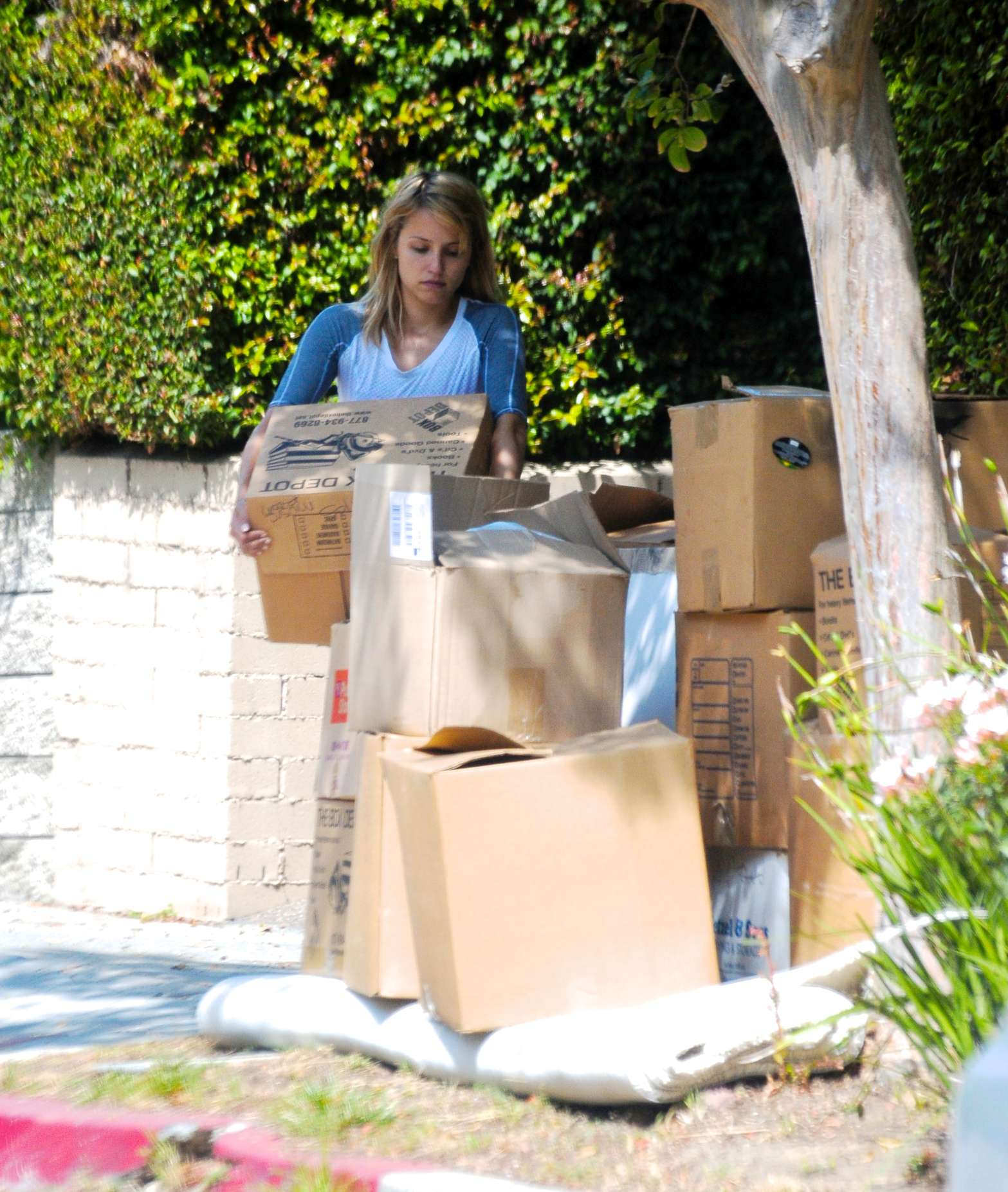 Dianna Agron seen outside her home in Los Angeles