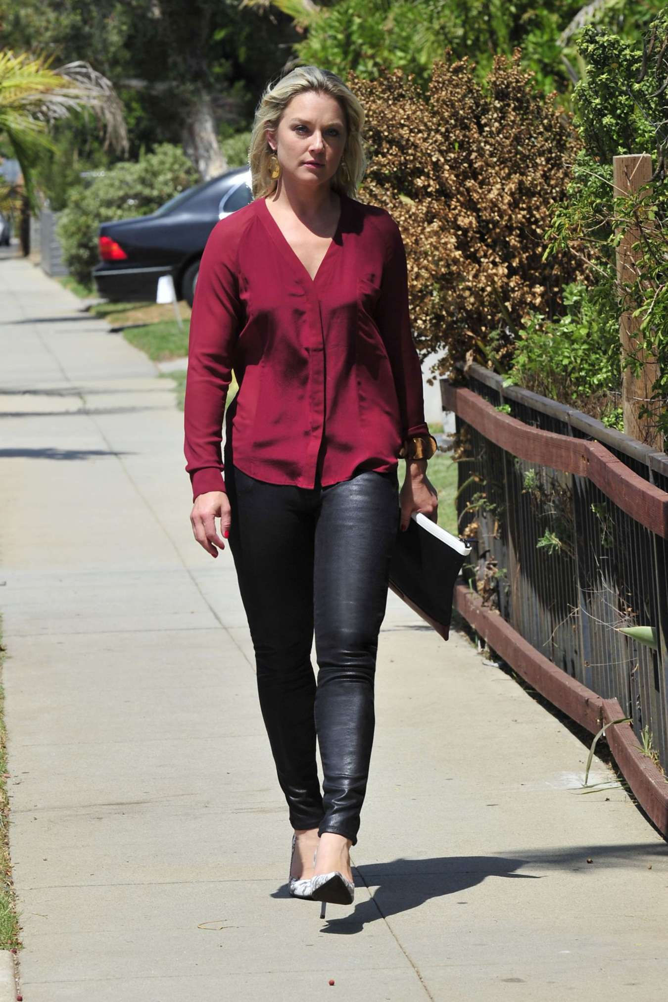 Elisabeth Rohm in Leather Pants Out in Santa Monica