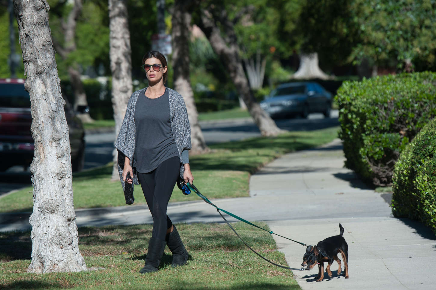 Elisabetta Canalis Walking Her Dog in Los Angeles