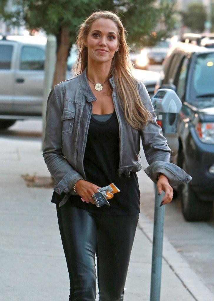 Elizabeth Berkley Wearing Leather Pants in West Hollywood