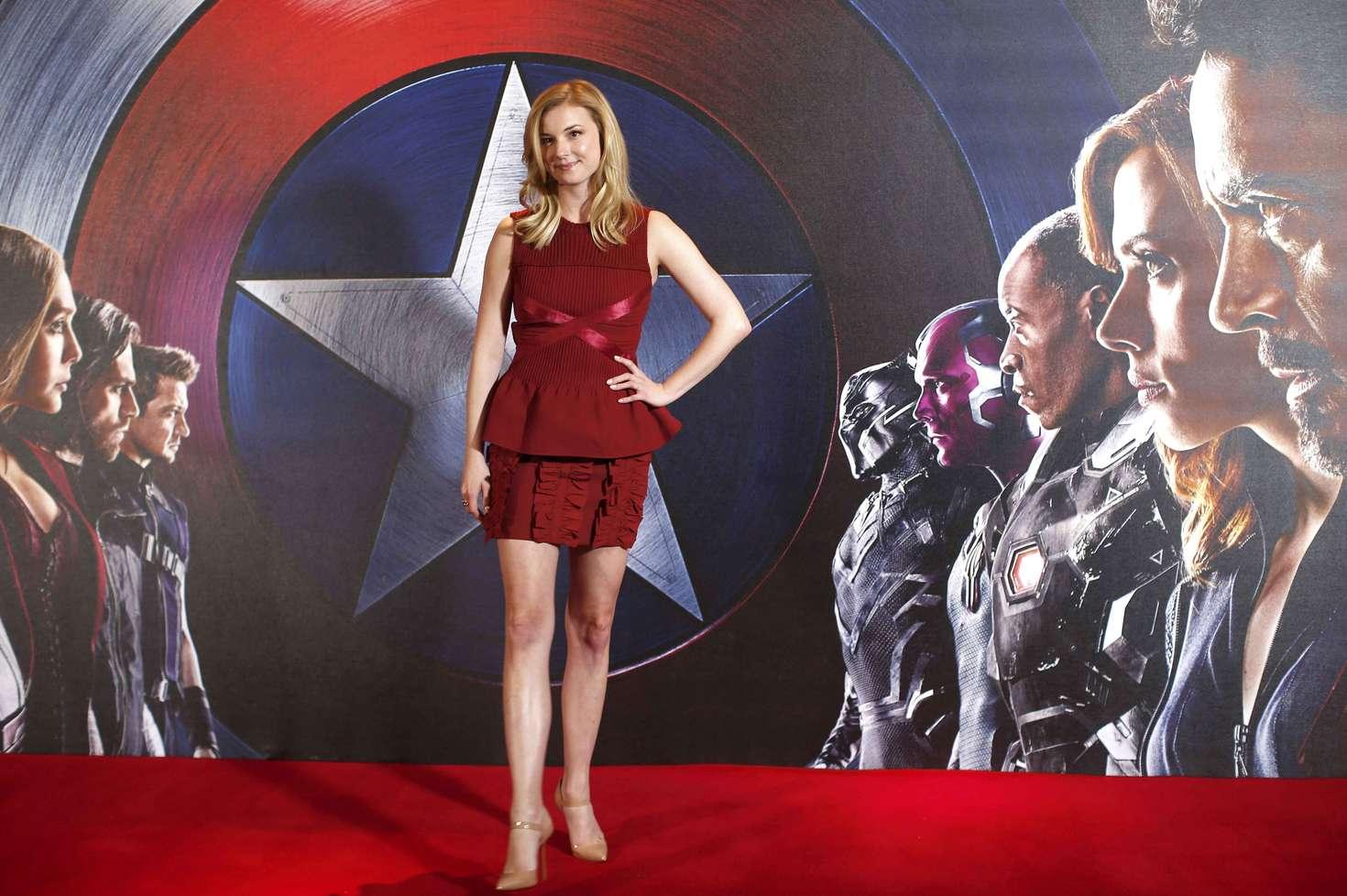 Emily VanCamp Captain America Civil War Photocall in London
