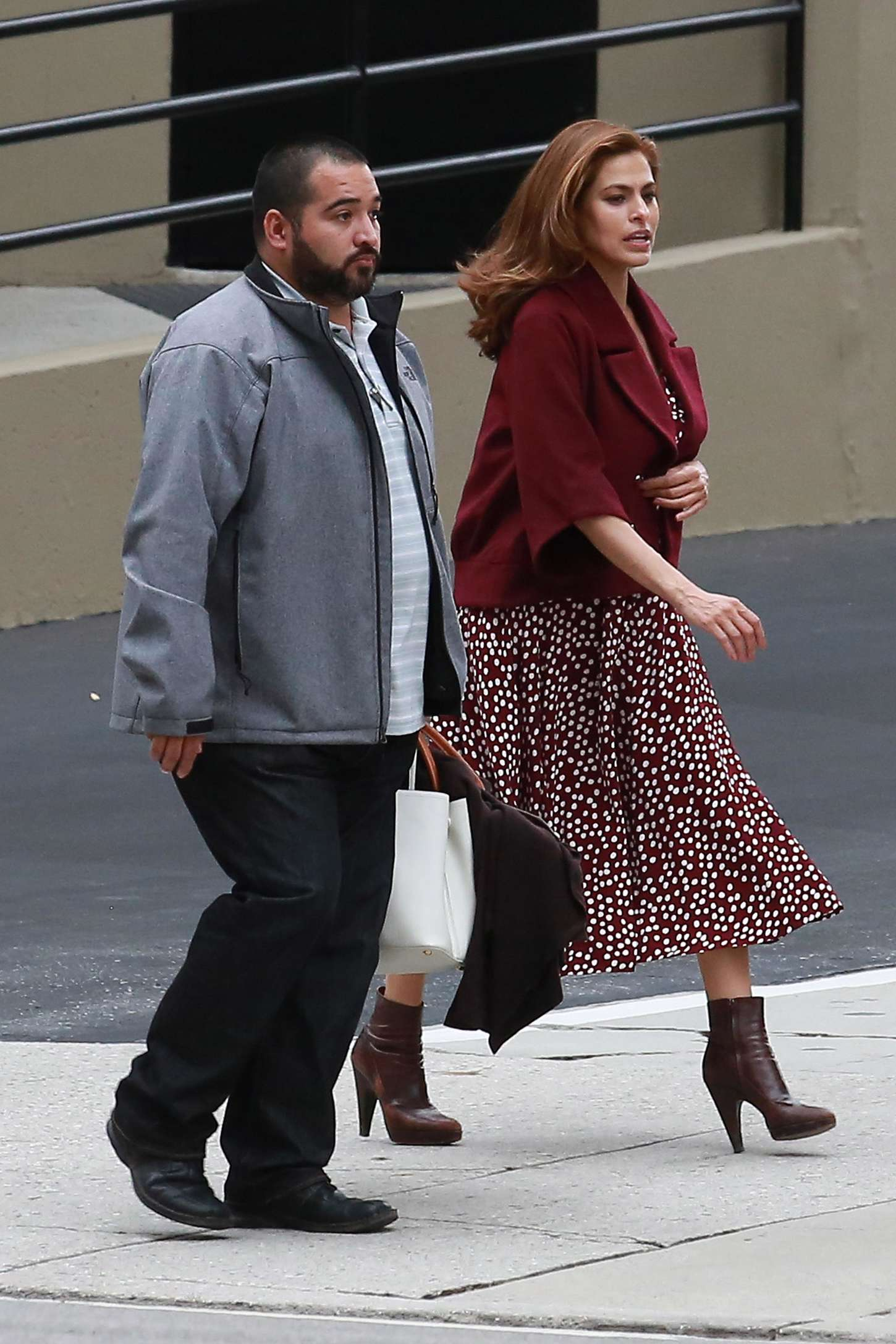 Eva Mendes on the Set While Shooting a Commercial in Los Angeles