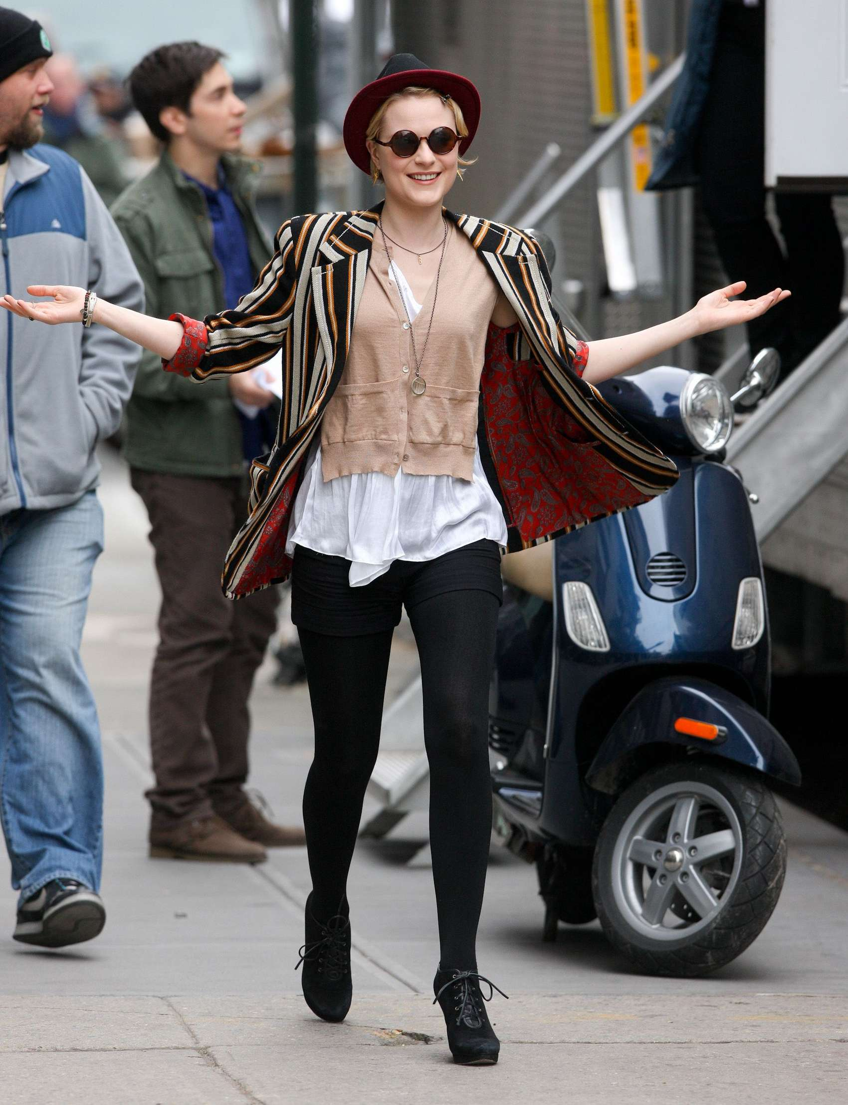 Evan Rachel Wood on set of A Case of you in New York