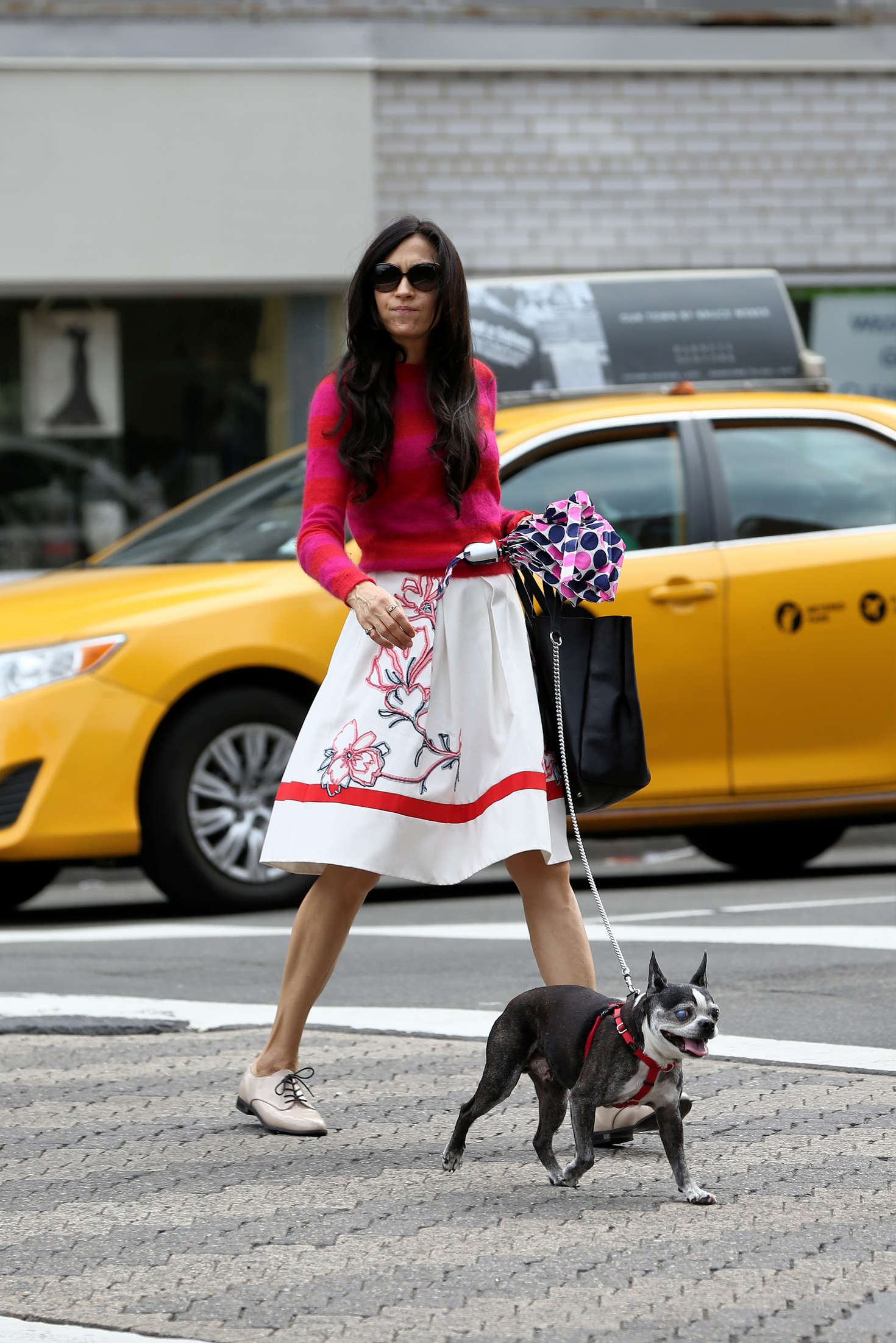 Famke Janssen Walks her dog Licorice in New York City