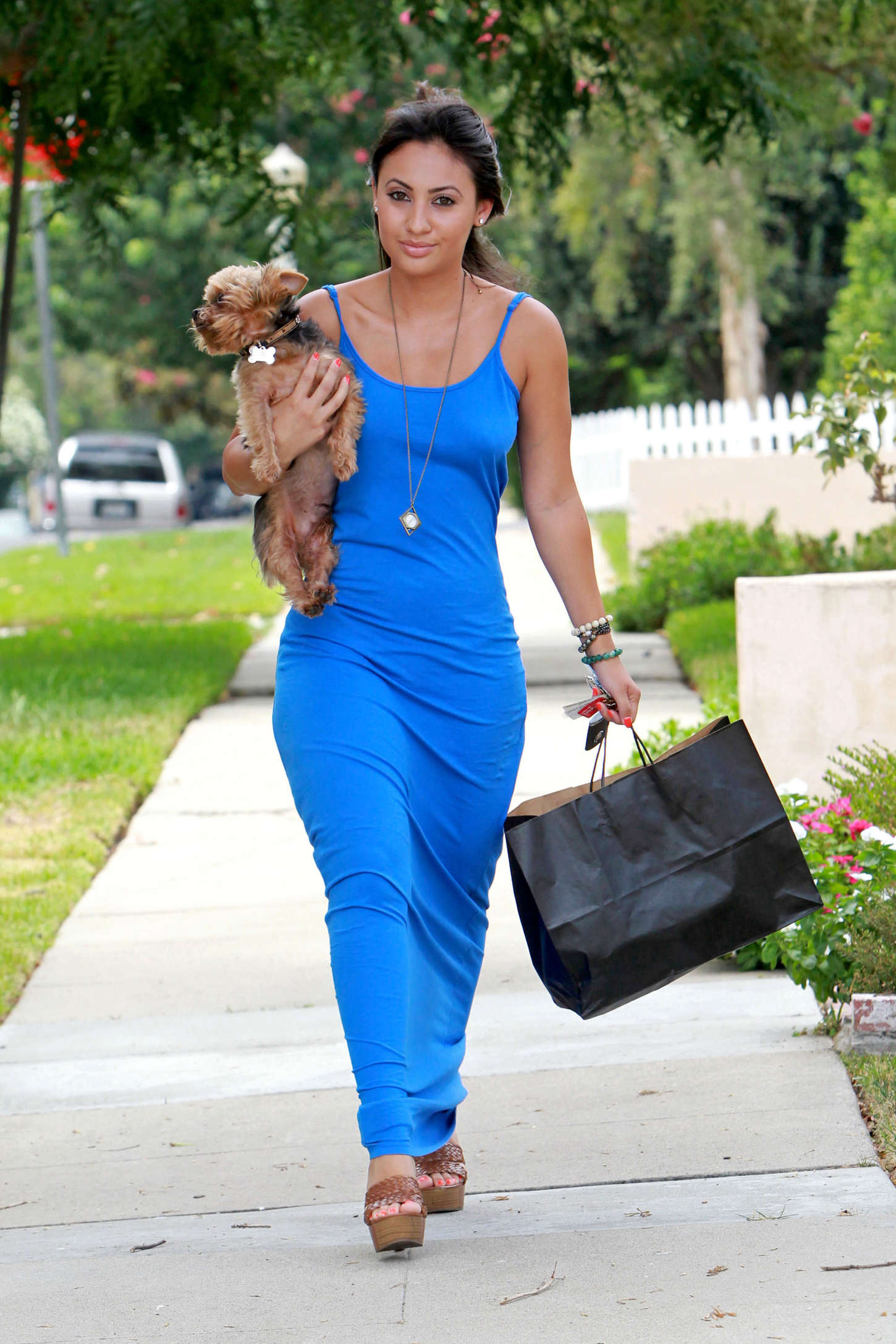 Francia Raisa in Blue Dress out in Los Angeles