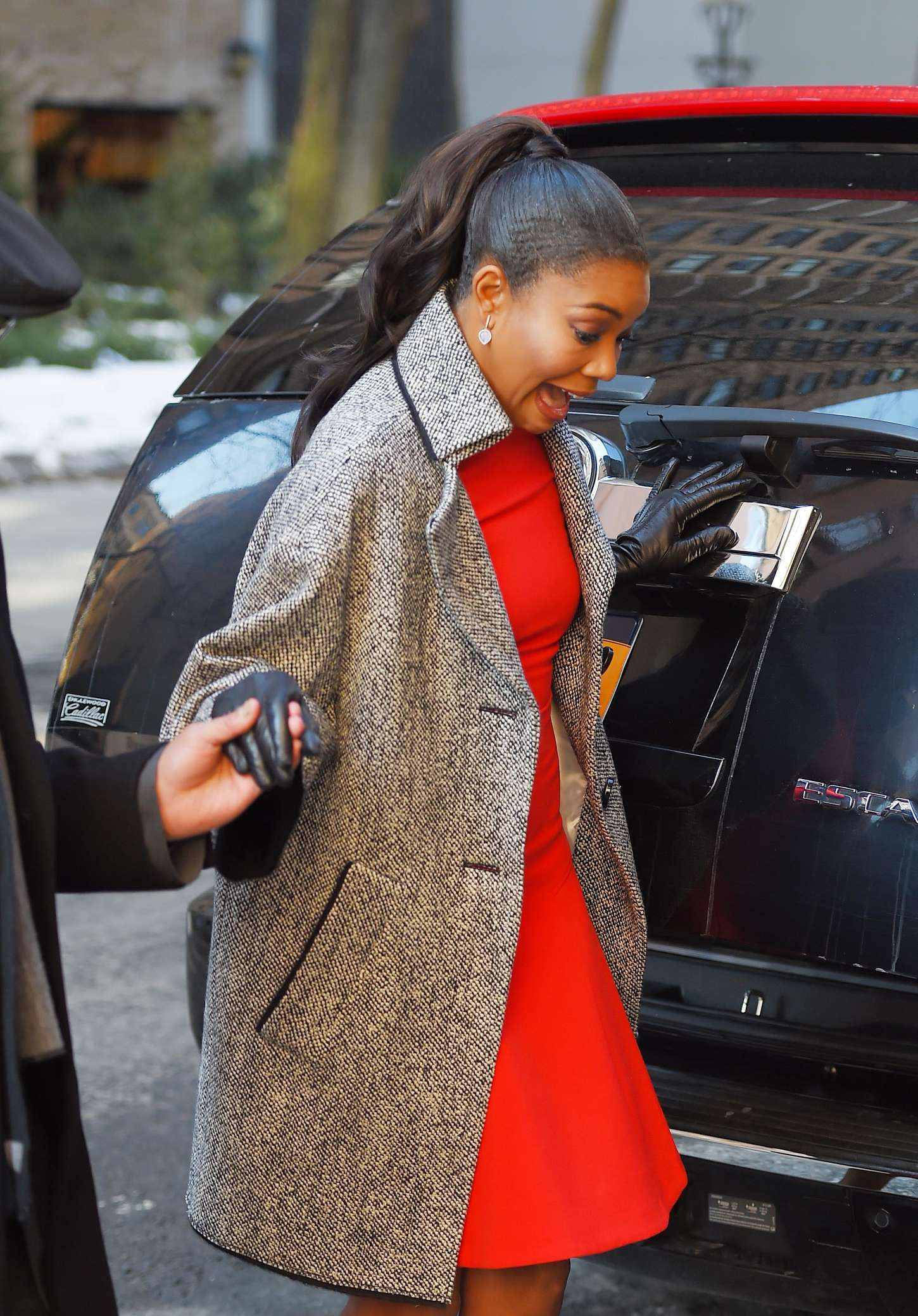 Gabrielle Union in Red Mini Dress Out in New York