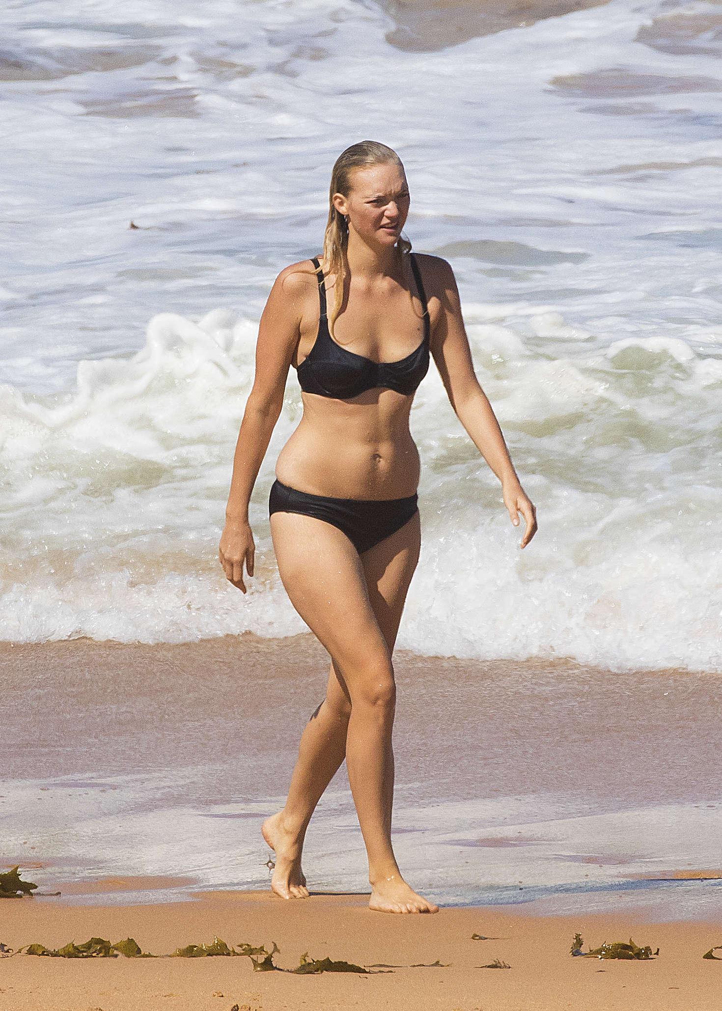 Gemma Ward Black Bikini Candids at a beach in Sydney