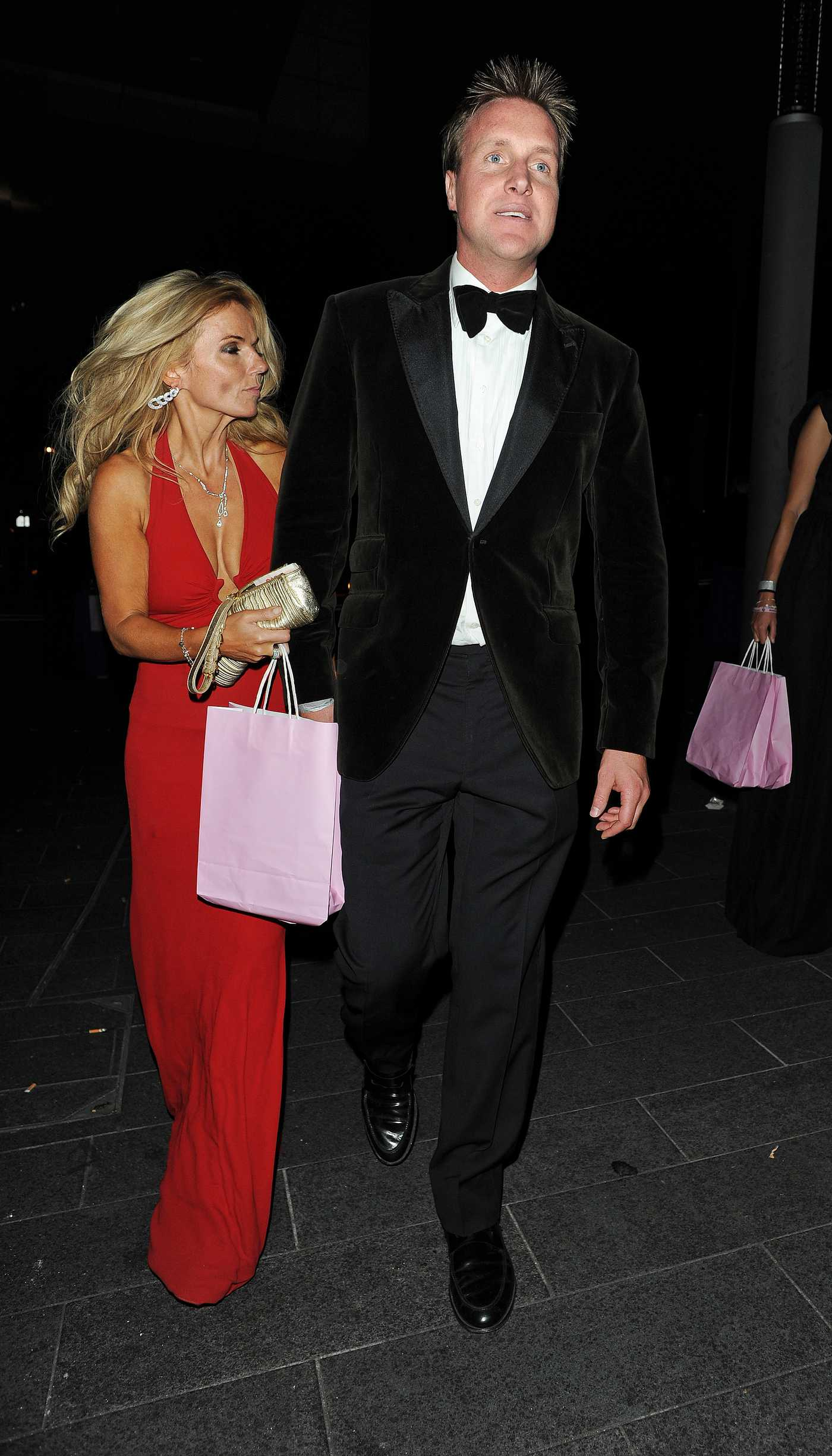 Geri Halliwell Tight Red Dress Candids at Boodles Boxing Ball in London