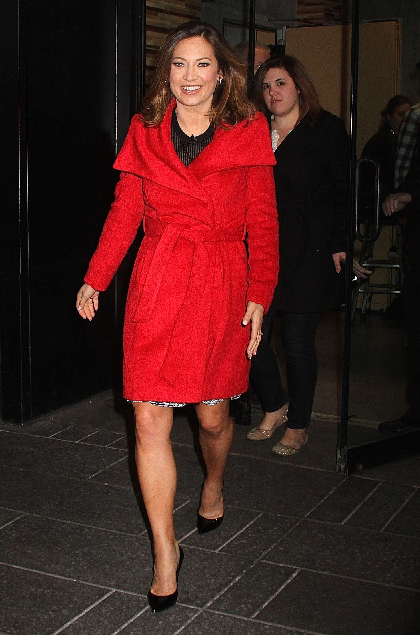 Ginger Zee in Red Coat at Good Morning America in New York