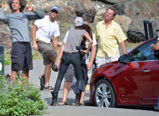 Grace Park filming Hawaii Five- in Oahu