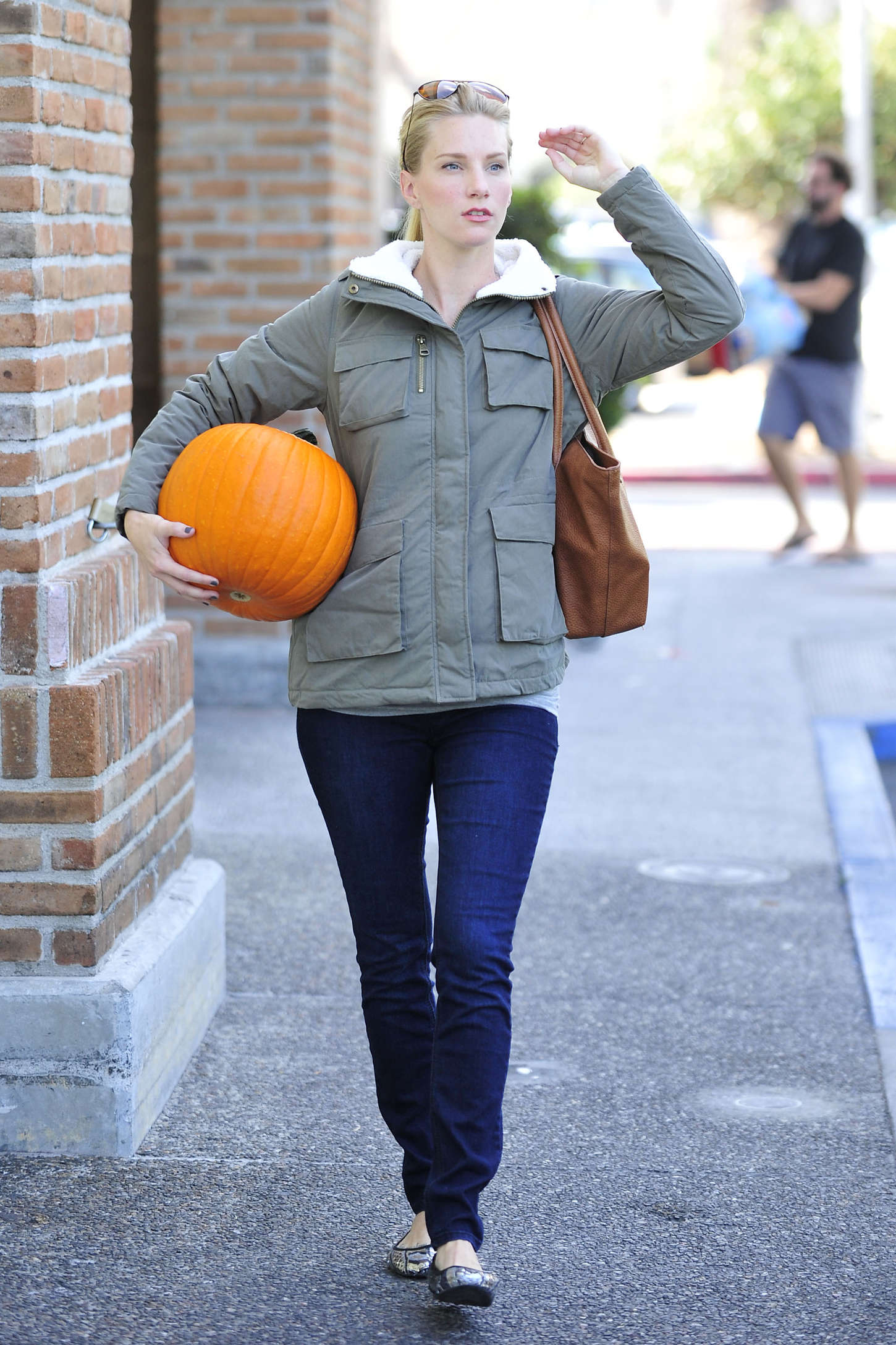 Heather Morris With a pumpkin out in Calabasas