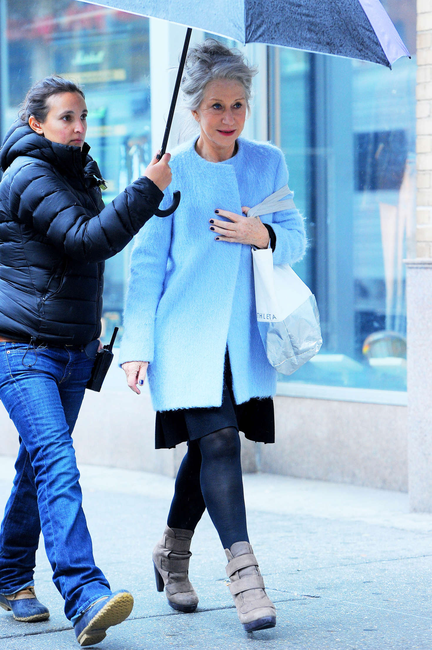 Helen Mirren on the set of Collateral Beauty in New York